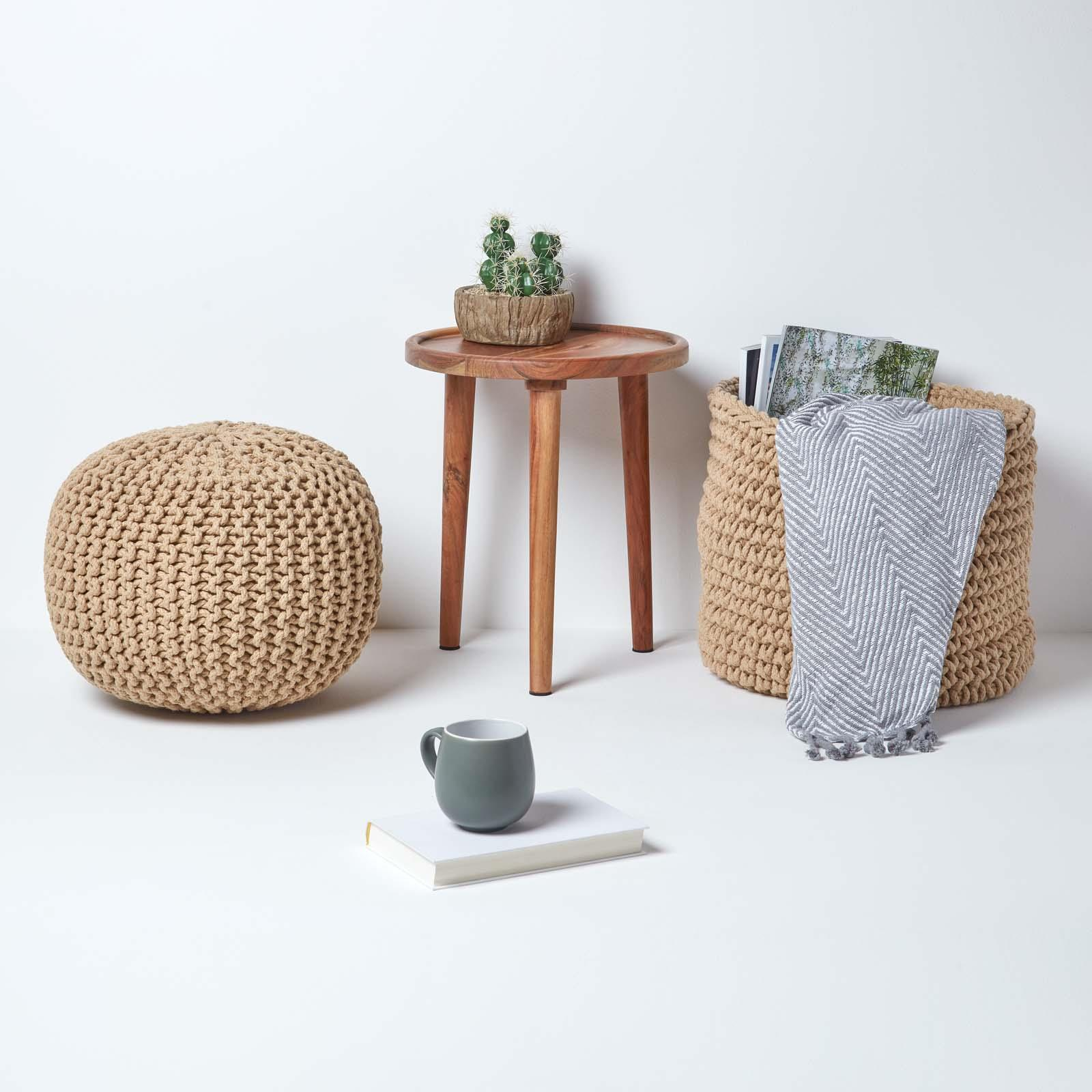 Hand-Knitted-100-Cotton-Pouffes-Round-Sphere-Or-Cube-Square-Chunky-Footstools thumbnail 84