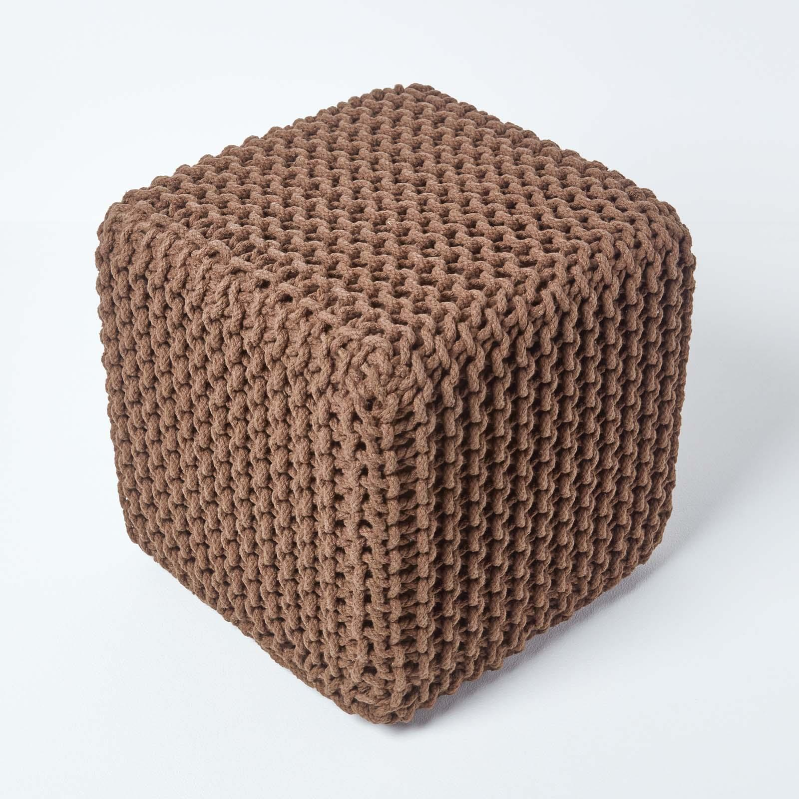 Hand-Knitted-100-Cotton-Pouffes-Round-Sphere-Or-Cube-Square-Chunky-Footstools thumbnail 30