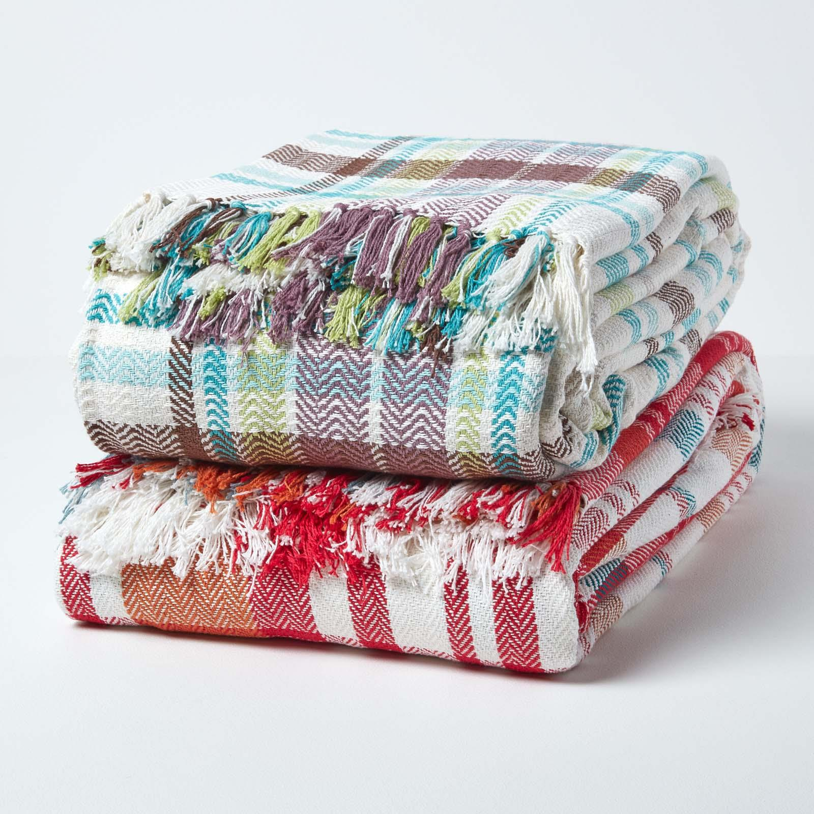 Details about Cotton Extra Large Tartan Throws for Sofas Bed Throw Blankets  Bedspreads
