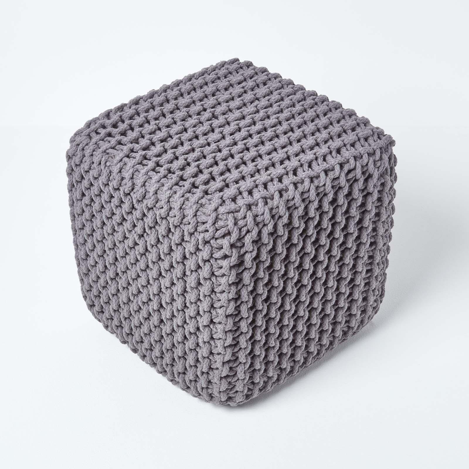 Hand-Knitted-100-Cotton-Pouffes-Round-Sphere-Or-Cube-Square-Chunky-Footstools thumbnail 53