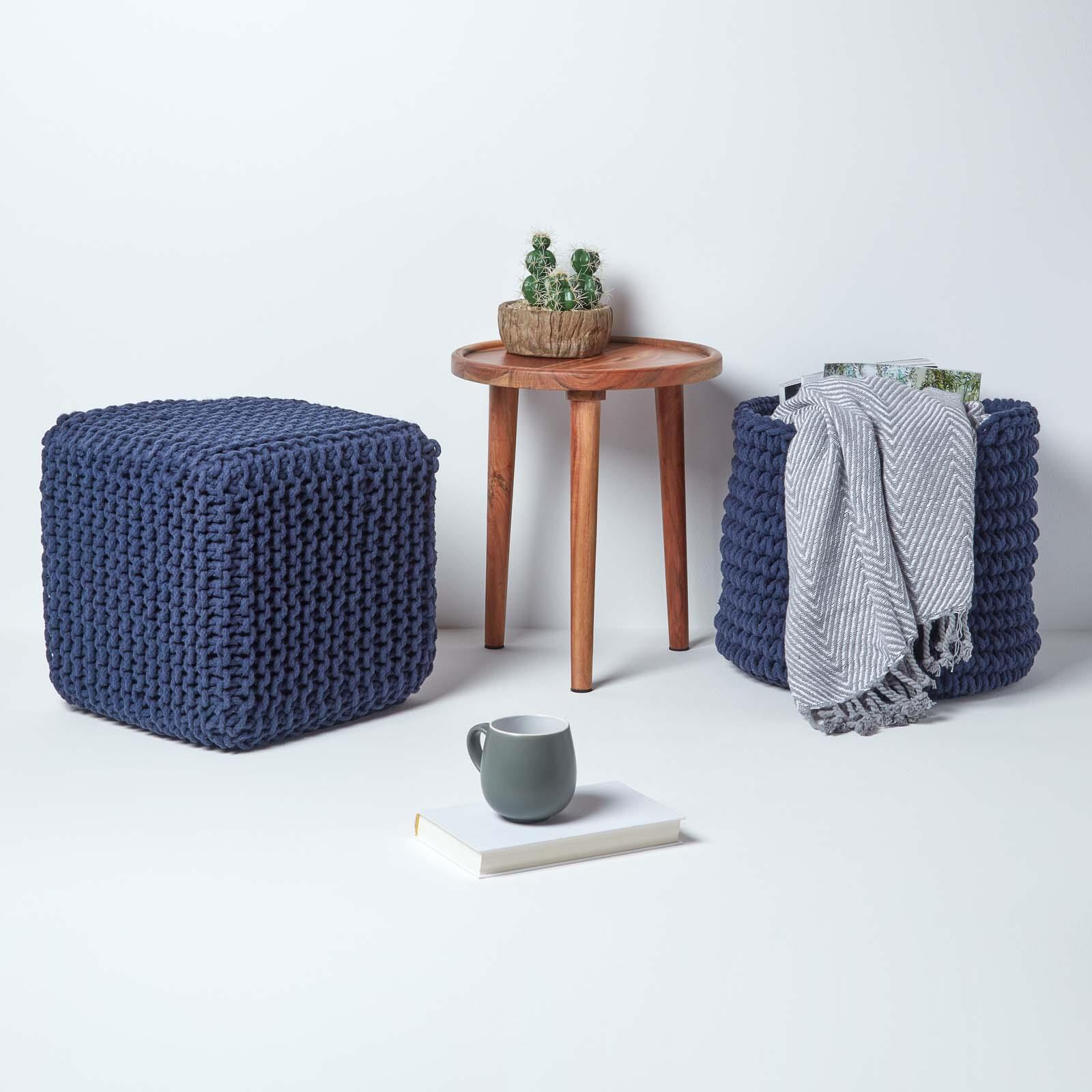Hand-Knitted-100-Cotton-Pouffes-Round-Sphere-Or-Cube-Square-Chunky-Footstools thumbnail 114