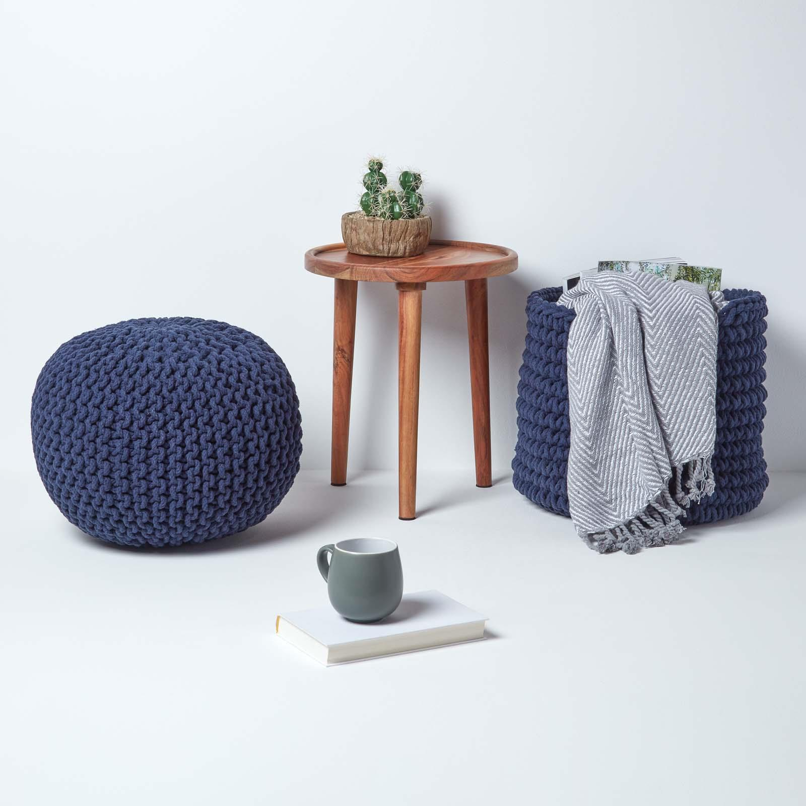 Hand-Knitted-100-Cotton-Pouffes-Round-Sphere-Or-Cube-Square-Chunky-Footstools thumbnail 109