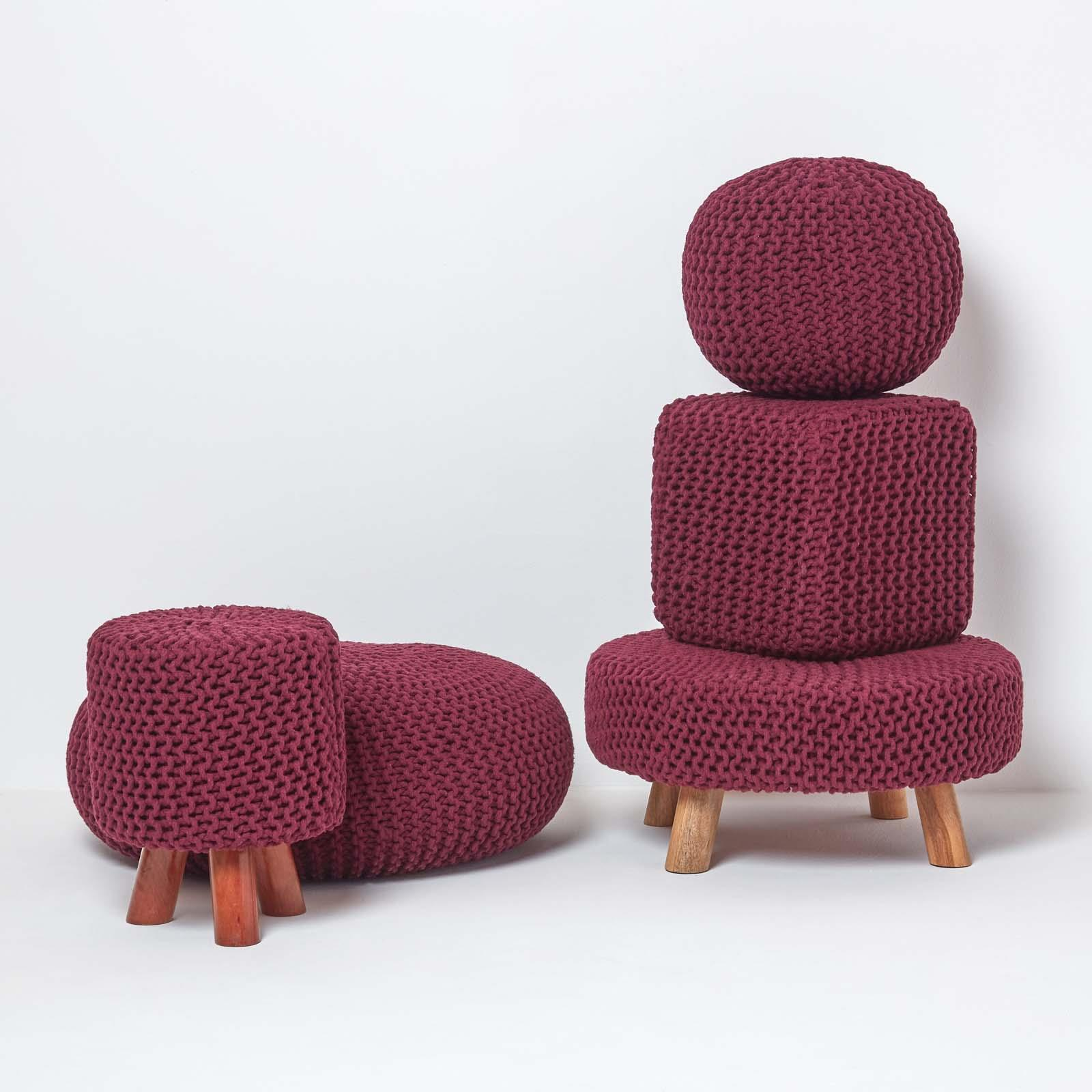 Hand-Knitted-100-Cotton-Pouffes-Round-Sphere-Or-Cube-Square-Chunky-Footstools thumbnail 156