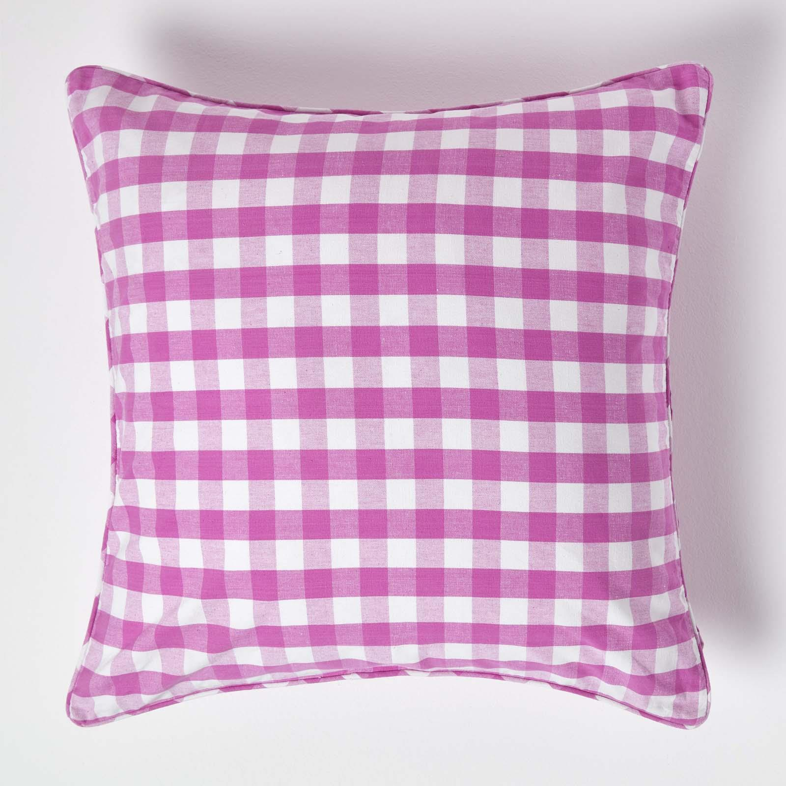 100 Cotton Block Check Cushion Cover For Home Decor Square Rectangular Ebay