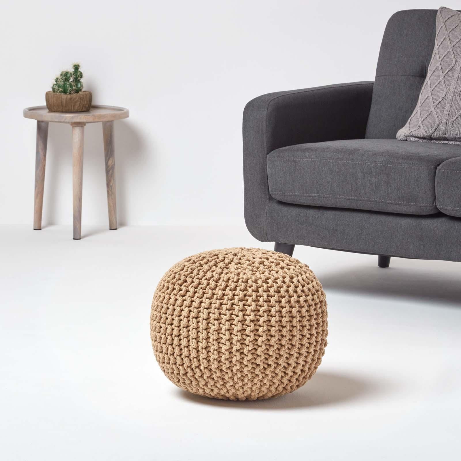 Hand-Knitted-100-Cotton-Pouffes-Round-Sphere-Or-Cube-Square-Chunky-Footstools thumbnail 80