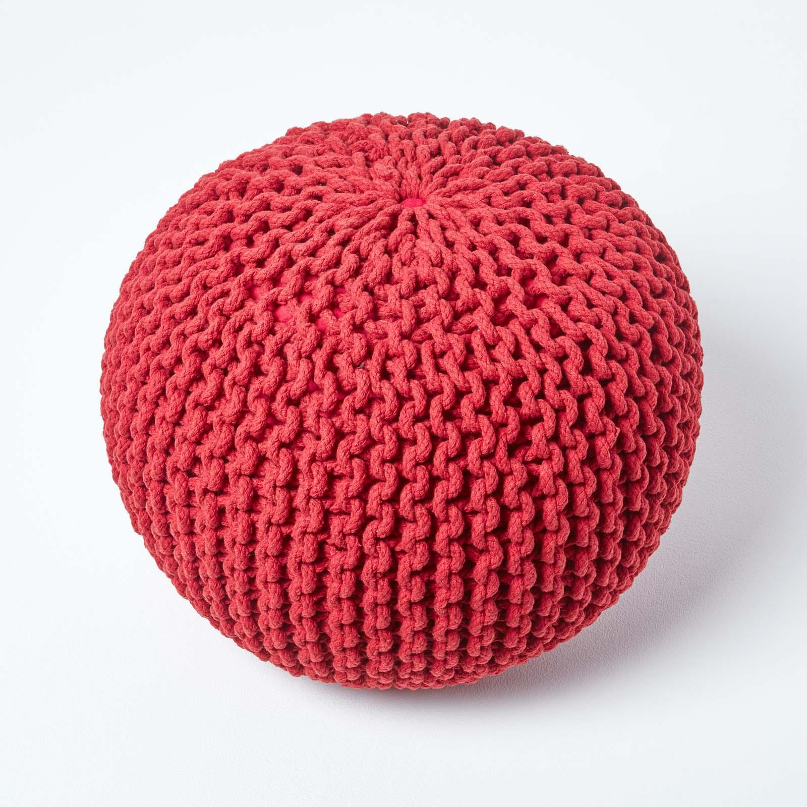 Hand-Knitted-100-Cotton-Pouffes-Round-Sphere-Or-Cube-Square-Chunky-Footstools thumbnail 172