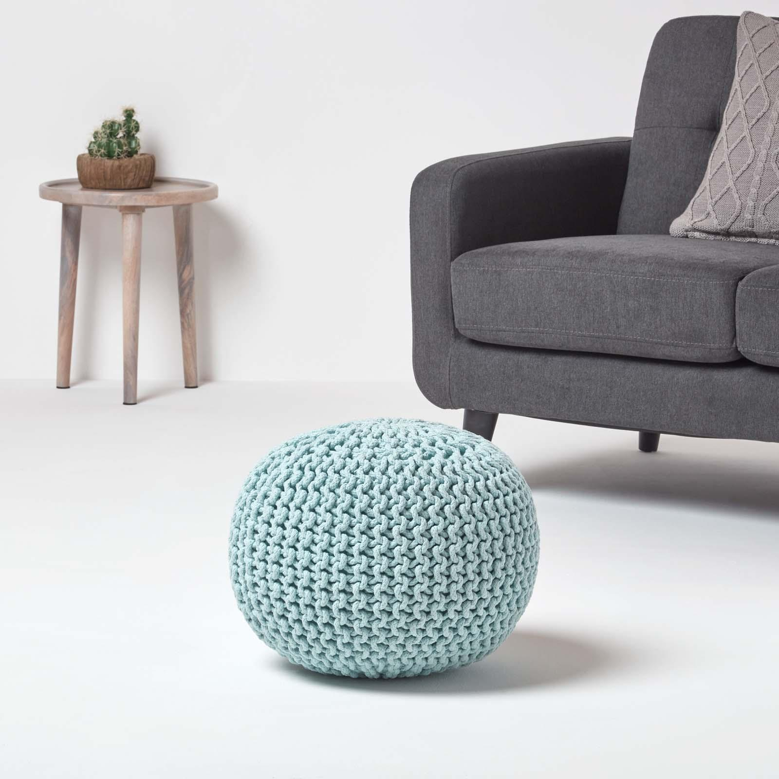 Hand-Knitted-100-Cotton-Pouffes-Round-Sphere-Or-Cube-Square-Chunky-Footstools thumbnail 129