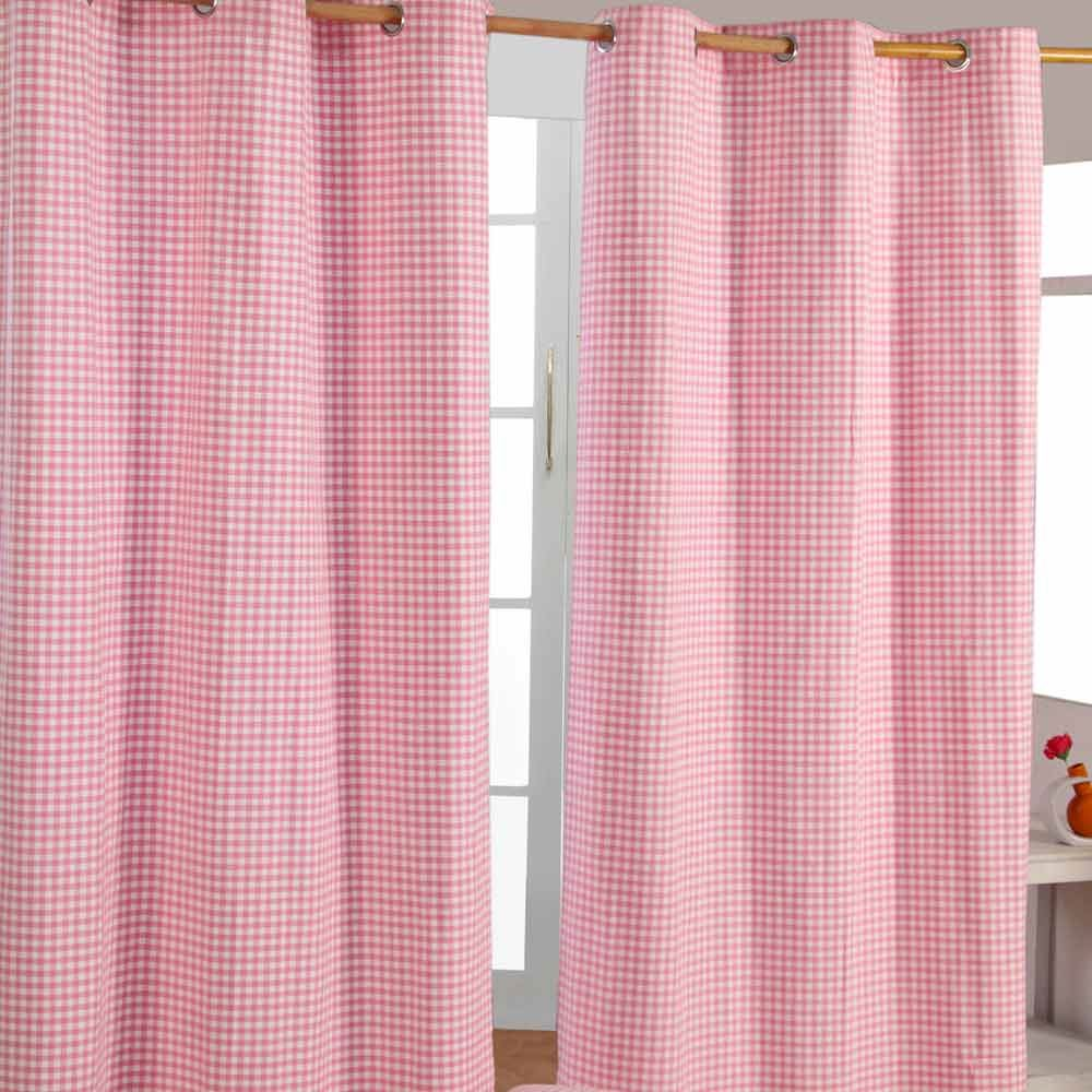 Gingham Eyelet Ready Made Curtain Beige Blue Pink Yellow Kids ...