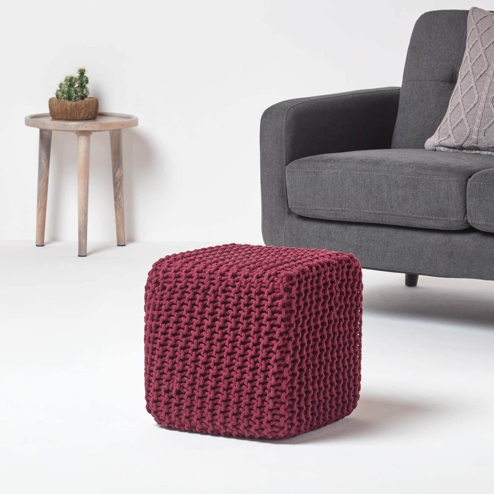 Hand-Knitted-100-Cotton-Pouffes-Round-Sphere-Or-Cube-Square-Chunky-Footstools thumbnail 158