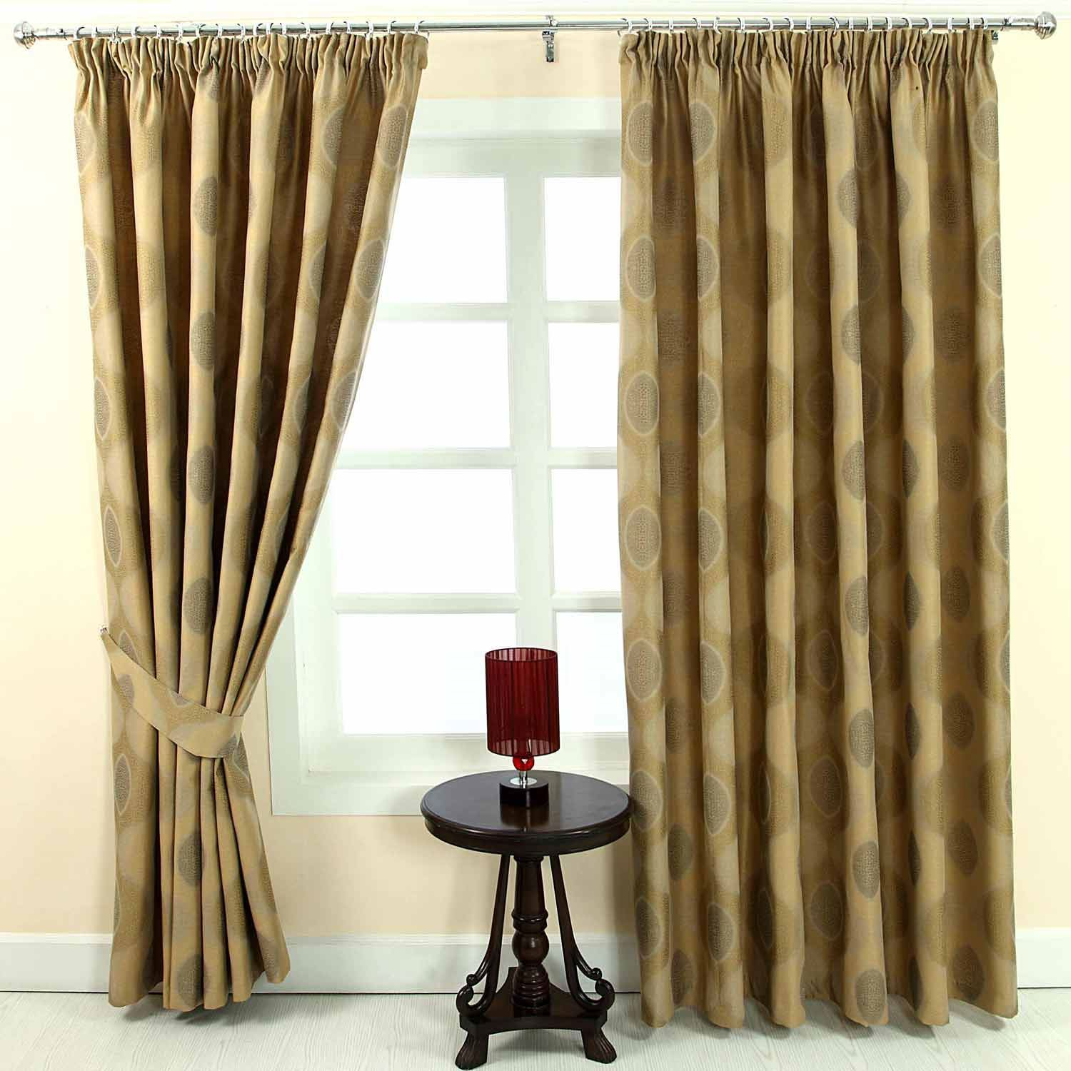 Pencil Pleat Fully Lined Ready Made Jacquard Curtains Blue