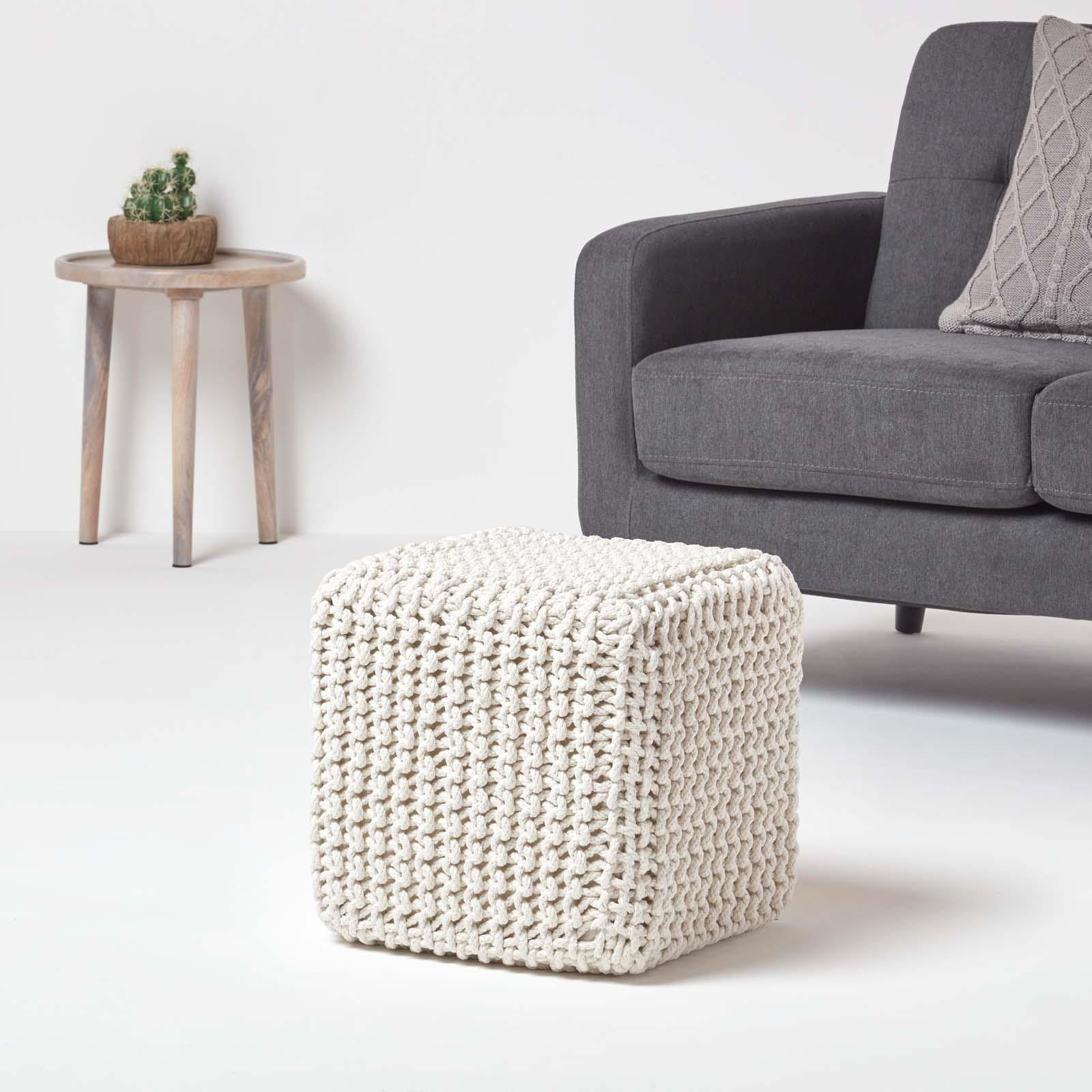 Hand-Knitted-100-Cotton-Pouffes-Round-Sphere-Or-Cube-Square-Chunky-Footstools thumbnail 96