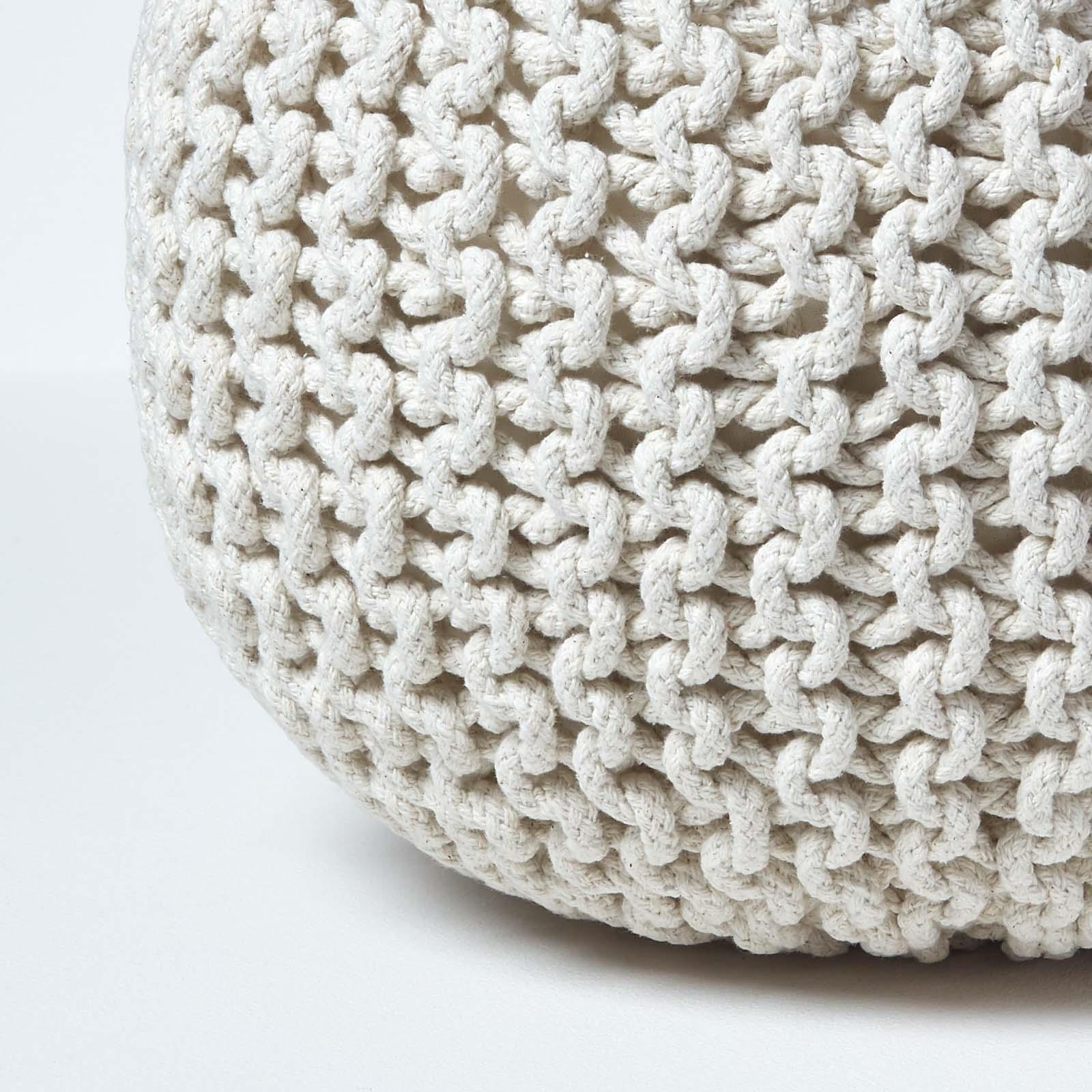 Hand-Knitted-100-Cotton-Pouffes-Round-Sphere-Or-Cube-Square-Chunky-Footstools thumbnail 100