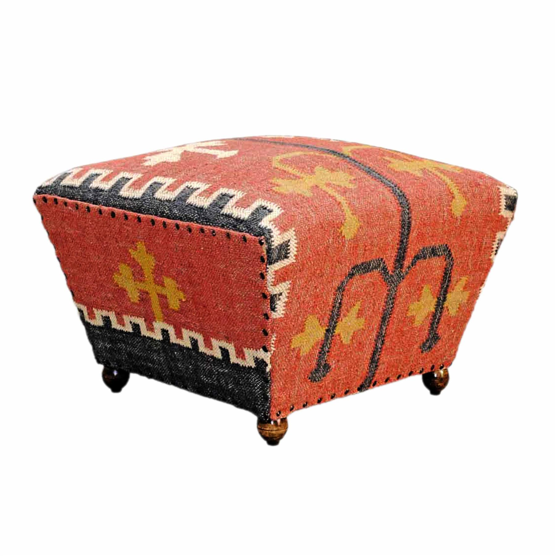 Upholstered Ottoman Tapered Seat Coffee Table Or Footstool