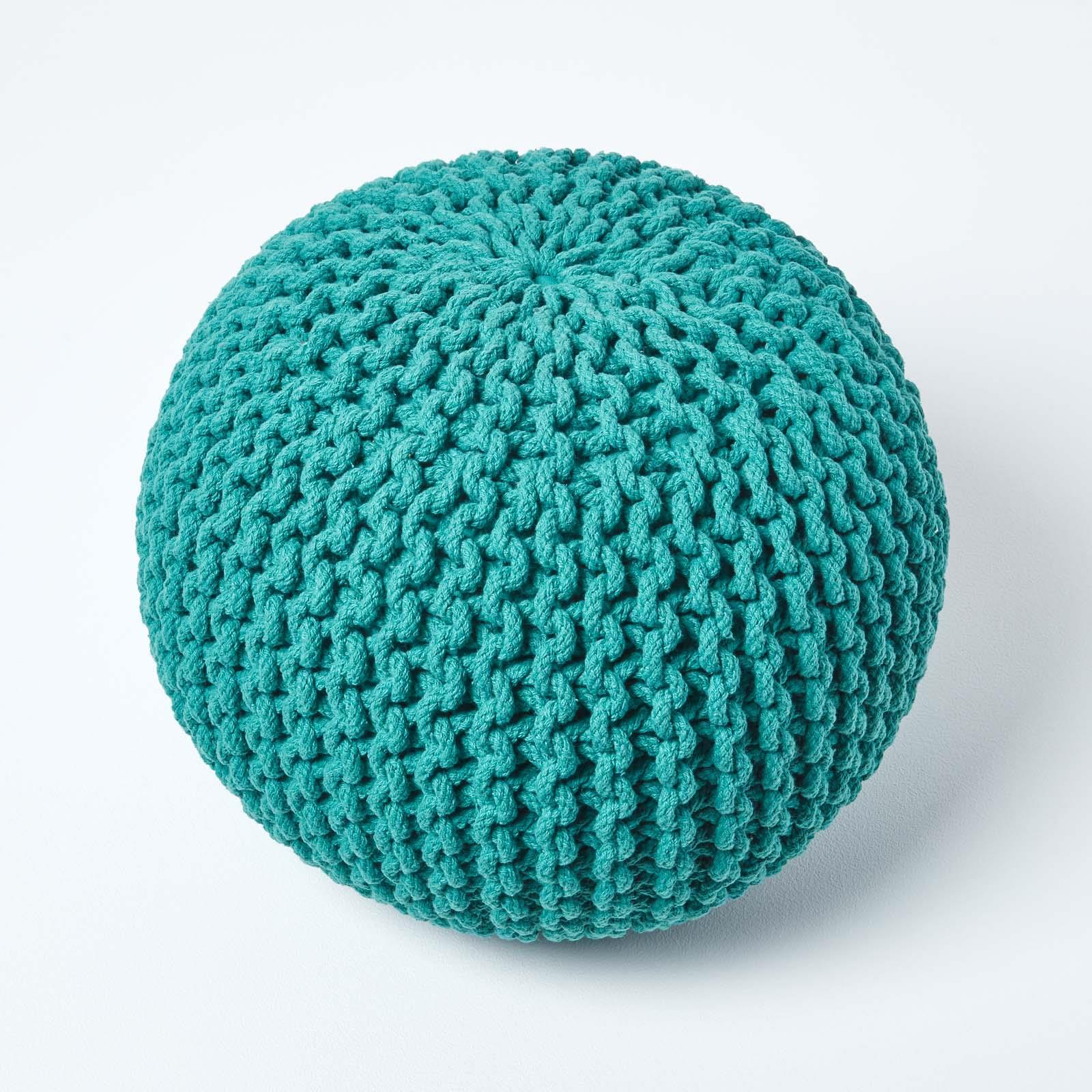 Hand-Knitted-100-Cotton-Pouffes-Round-Sphere-Or-Cube-Square-Chunky-Footstools thumbnail 195