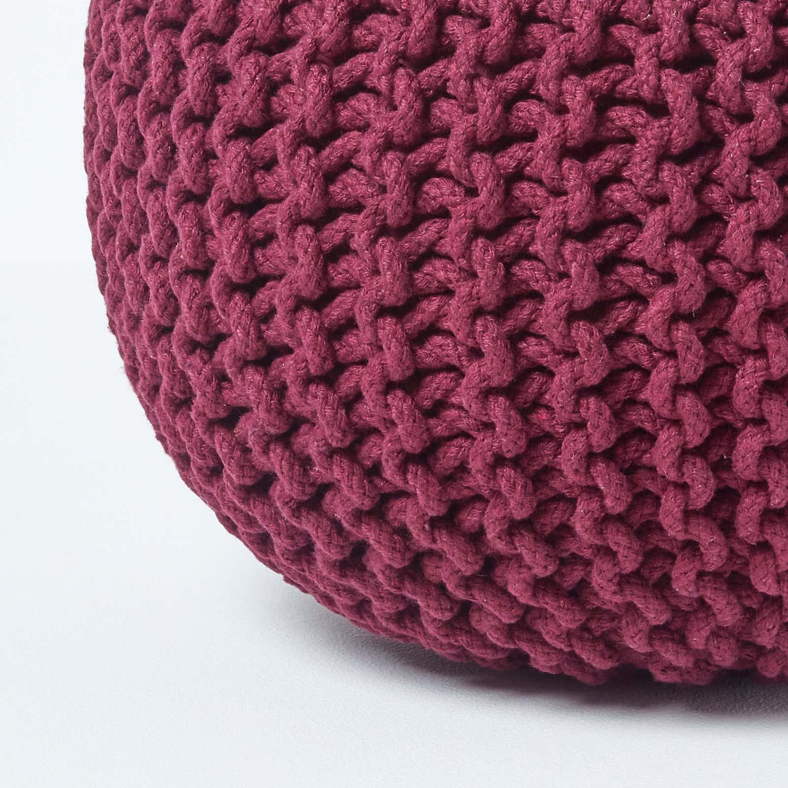 Hand-Knitted-100-Cotton-Pouffes-Round-Sphere-Or-Cube-Square-Chunky-Footstools thumbnail 155