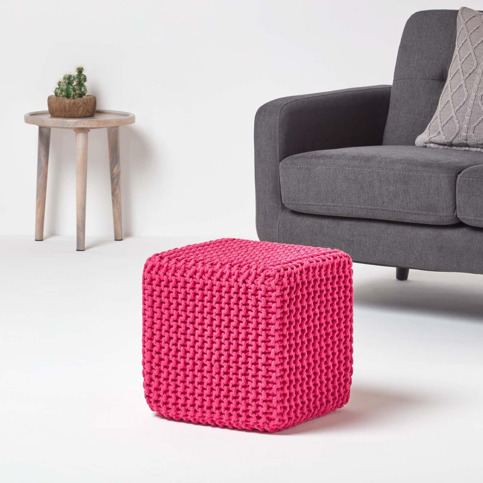 Hand-Knitted-100-Cotton-Pouffes-Round-Sphere-Or-Cube-Square-Chunky-Footstools thumbnail 68