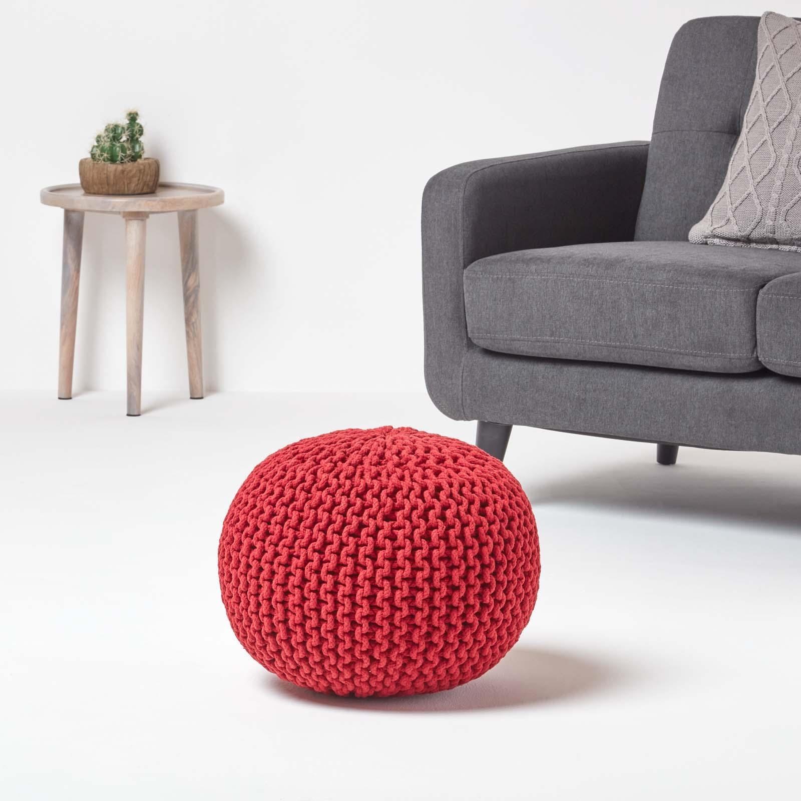 Hand-Knitted-100-Cotton-Pouffes-Round-Sphere-Or-Cube-Square-Chunky-Footstools thumbnail 171