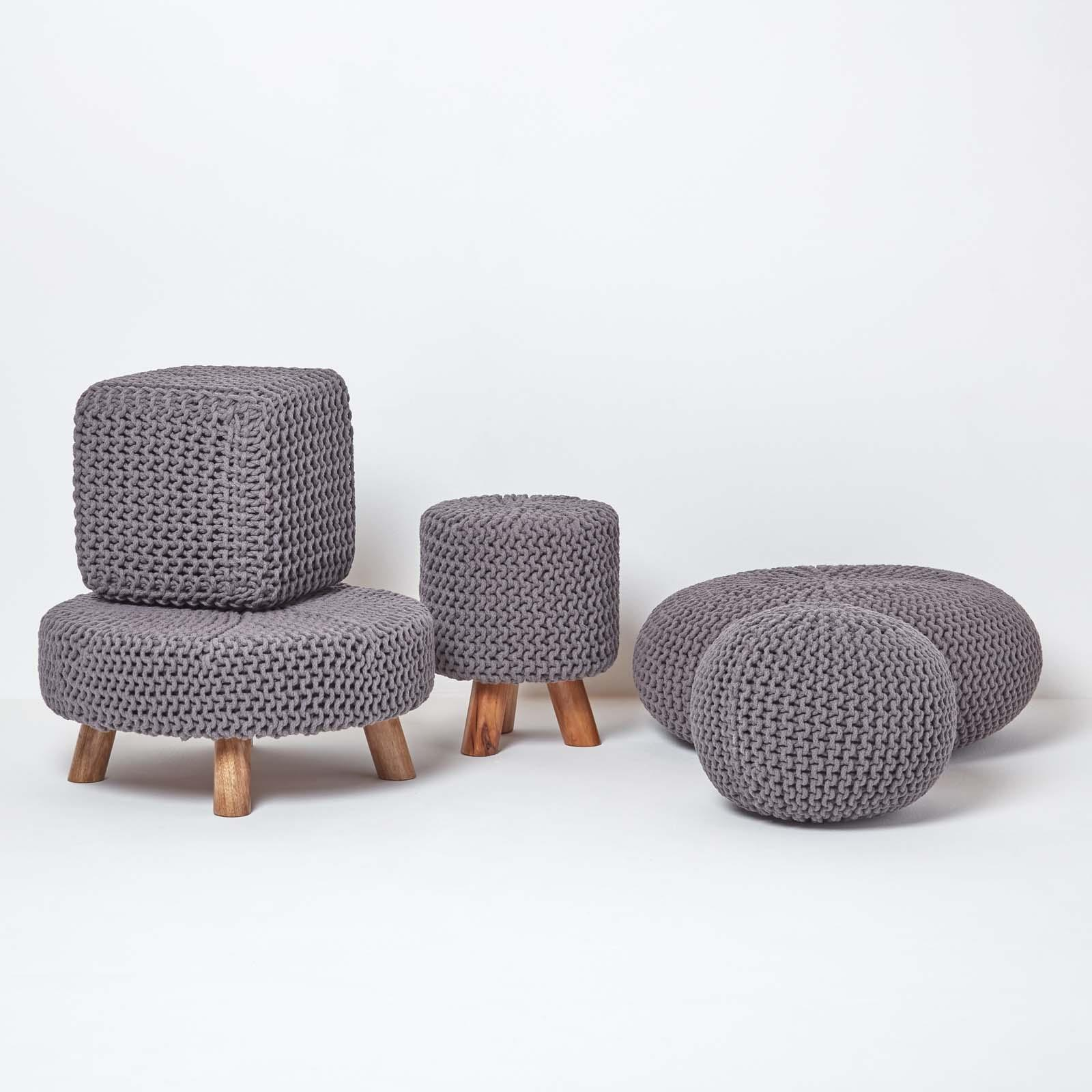 Hand-Knitted-100-Cotton-Pouffes-Round-Sphere-Or-Cube-Square-Chunky-Footstools thumbnail 55