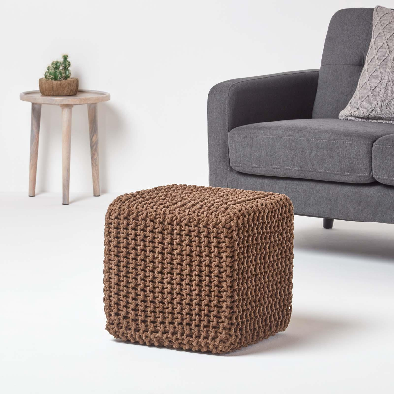 Hand-Knitted-100-Cotton-Pouffes-Round-Sphere-Or-Cube-Square-Chunky-Footstools thumbnail 29