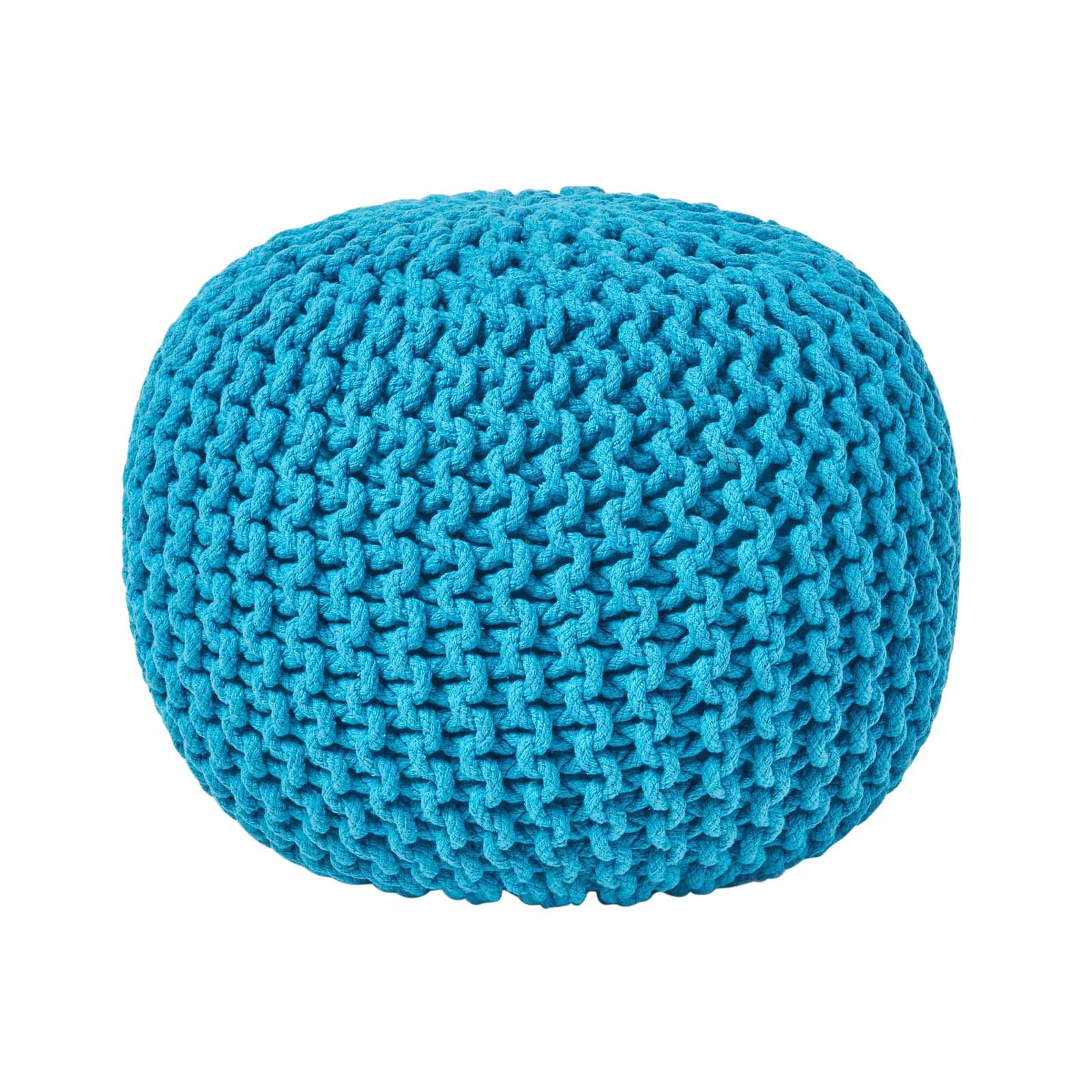 Hand-Knitted-100-Cotton-Pouffes-Round-Sphere-Or-Cube-Square-Chunky-Footstools thumbnail 182