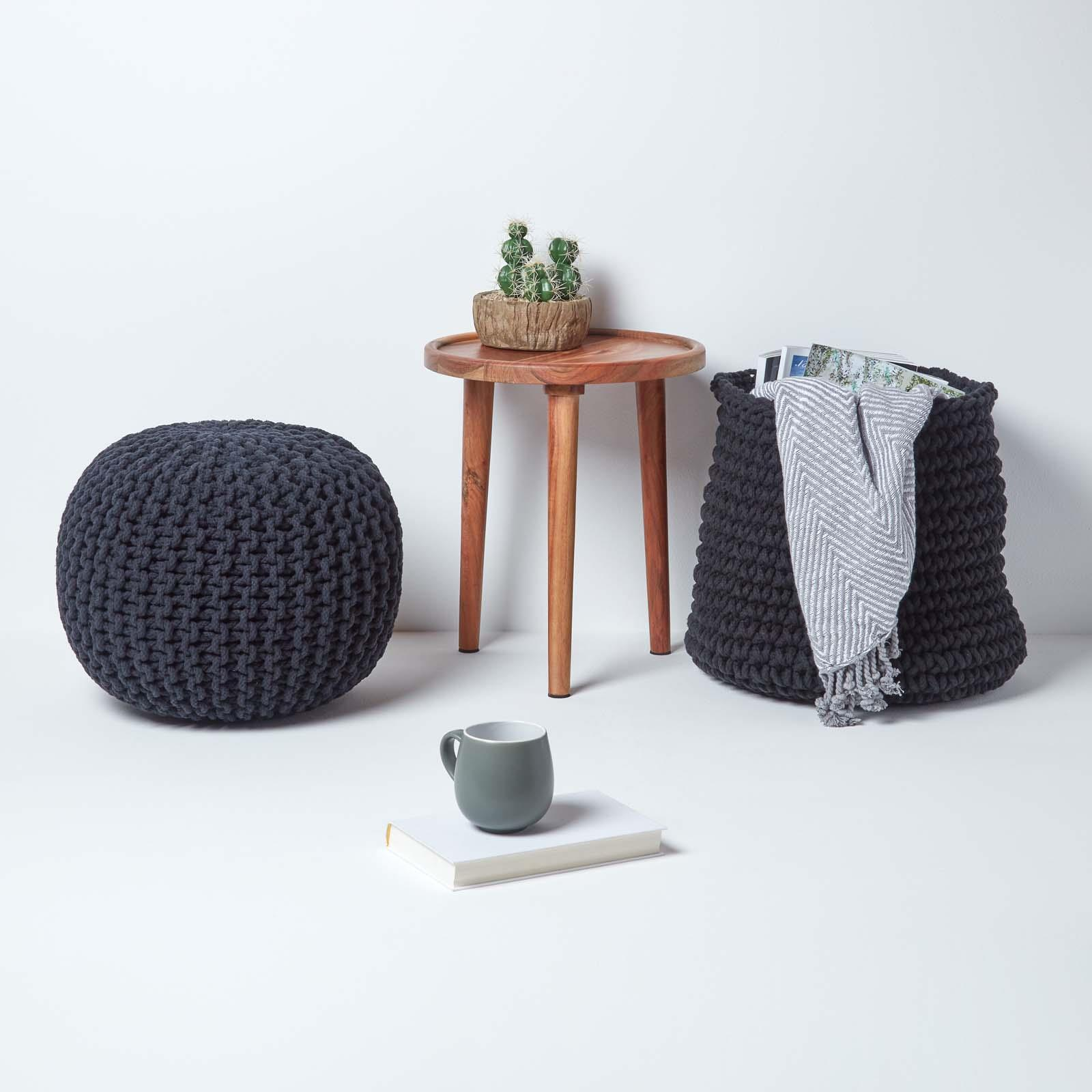 Hand-Knitted-100-Cotton-Pouffes-Round-Sphere-Or-Cube-Square-Chunky-Footstools thumbnail 9