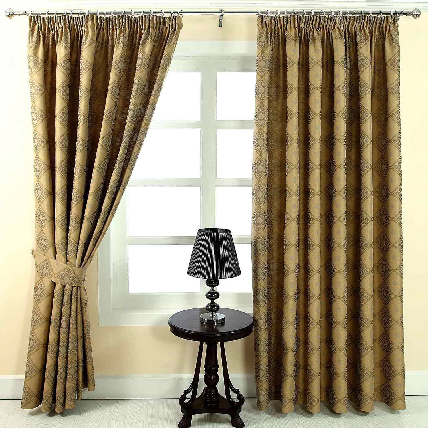 pencil pleat jacquard ready made curtains abstract aztec. Black Bedroom Furniture Sets. Home Design Ideas