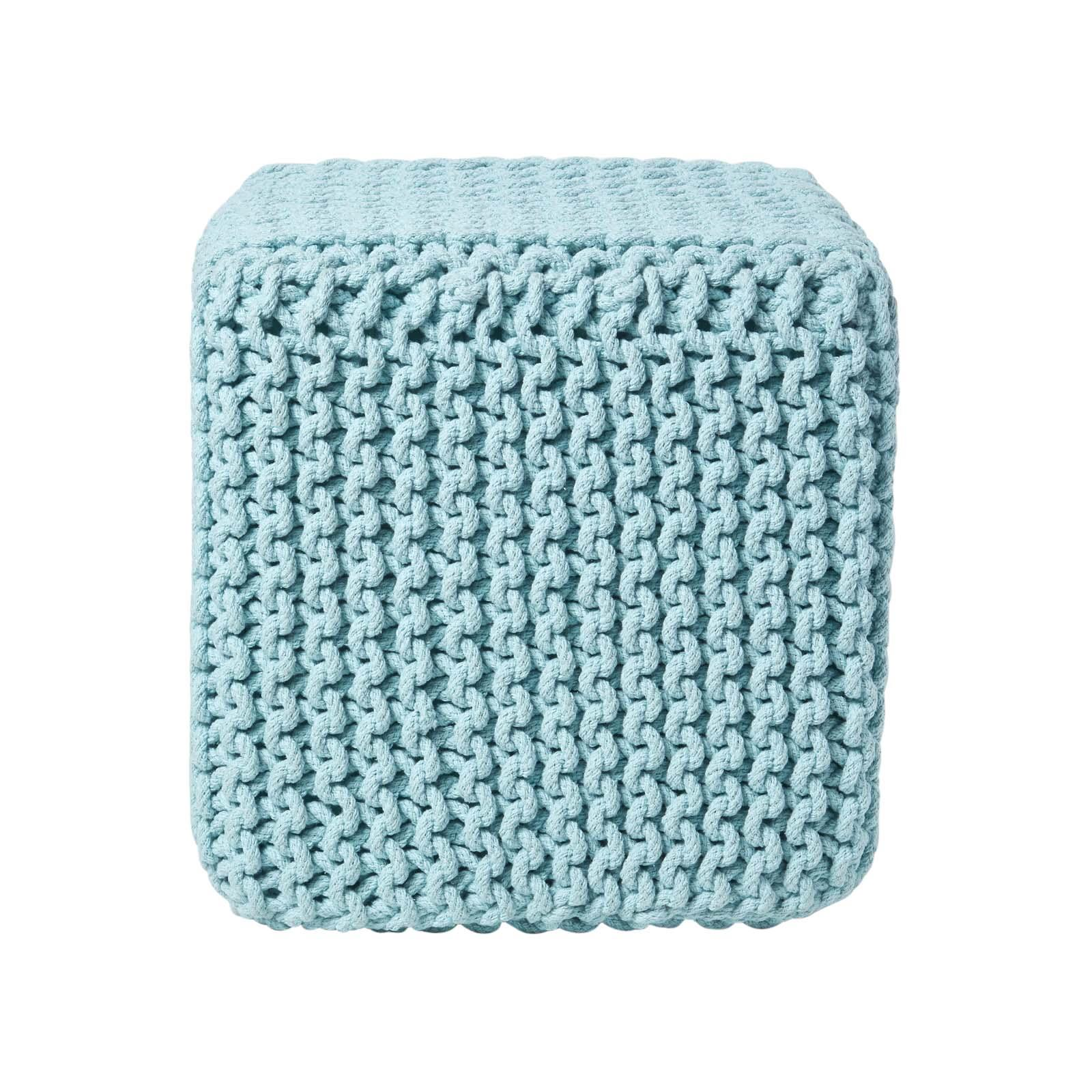 Hand-Knitted-100-Cotton-Pouffes-Round-Sphere-Or-Cube-Square-Chunky-Footstools thumbnail 128