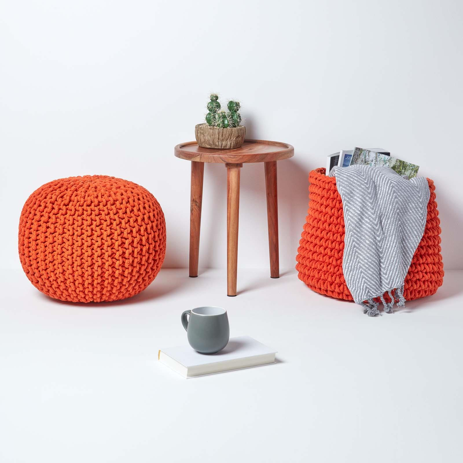 Hand-Knitted-100-Cotton-Pouffes-Round-Sphere-Or-Cube-Square-Chunky-Footstools thumbnail 121
