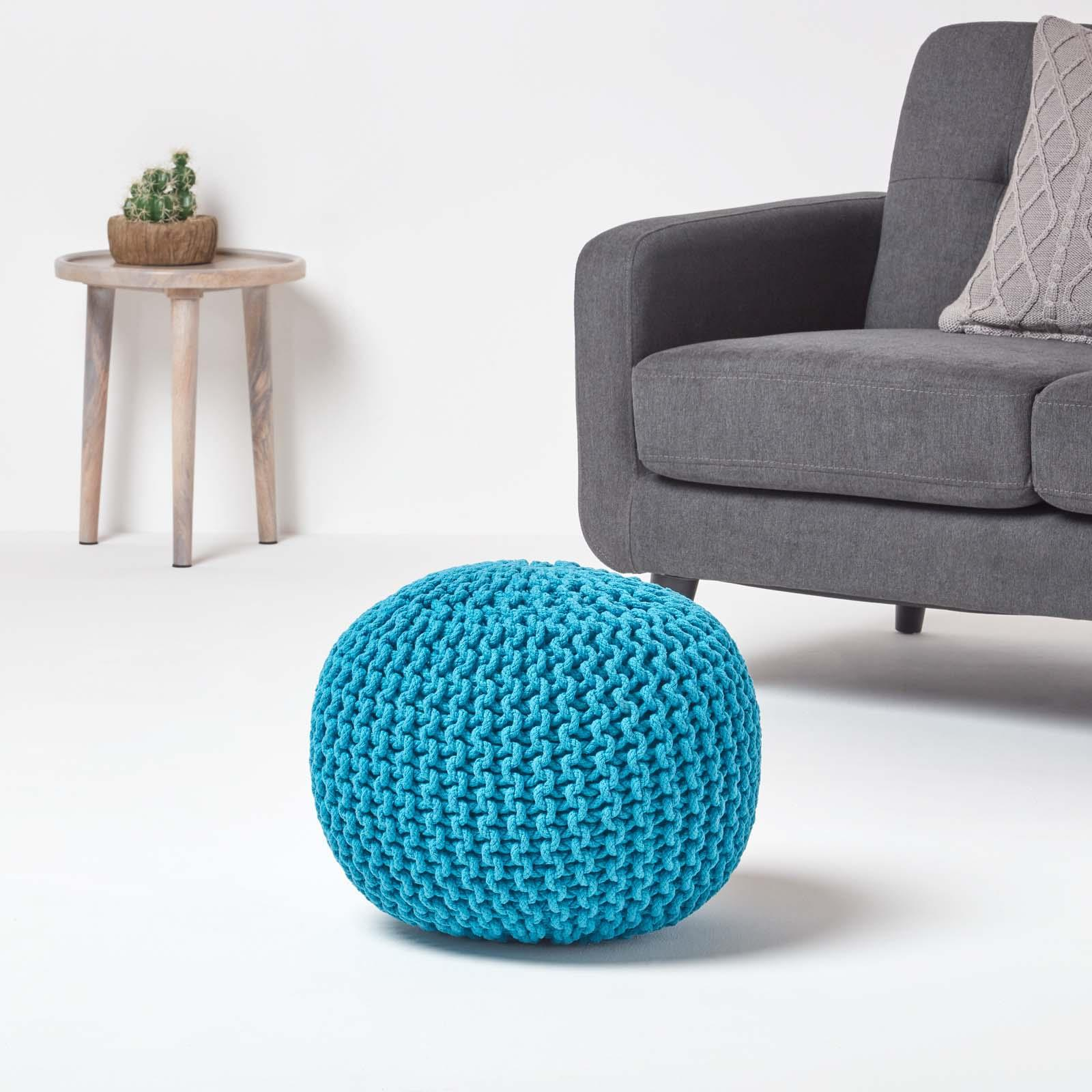 Hand-Knitted-100-Cotton-Pouffes-Round-Sphere-Or-Cube-Square-Chunky-Footstools thumbnail 187