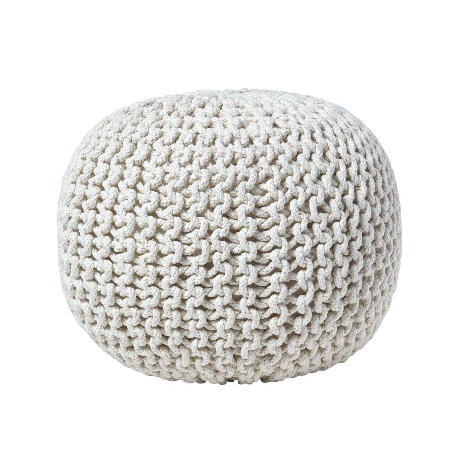 Hand-Knitted-100-Cotton-Pouffes-Round-Sphere-Or-Cube-Square-Chunky-Footstools thumbnail 92