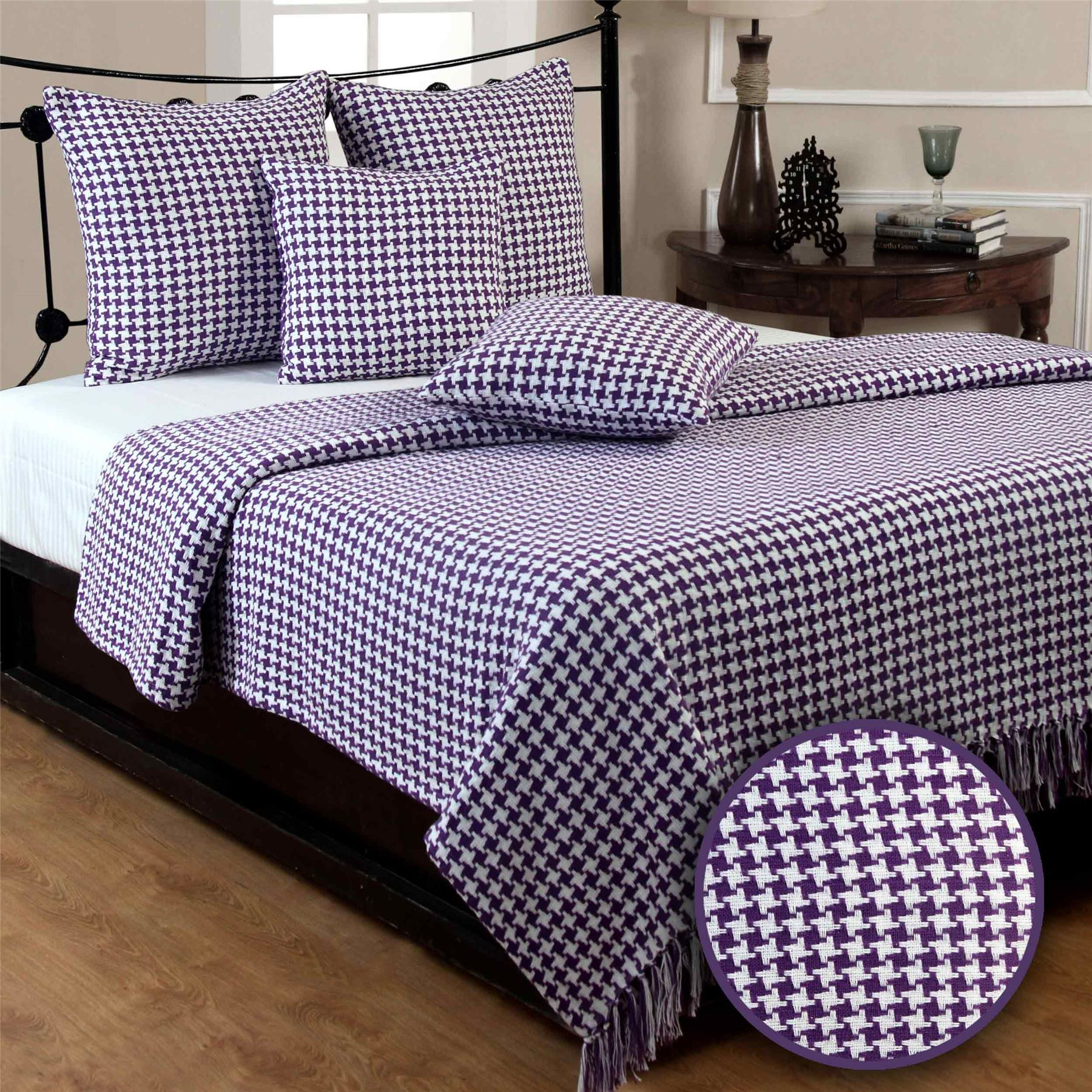Houndstooth Cotton Check Extra Sofa Bed Throws Blanket