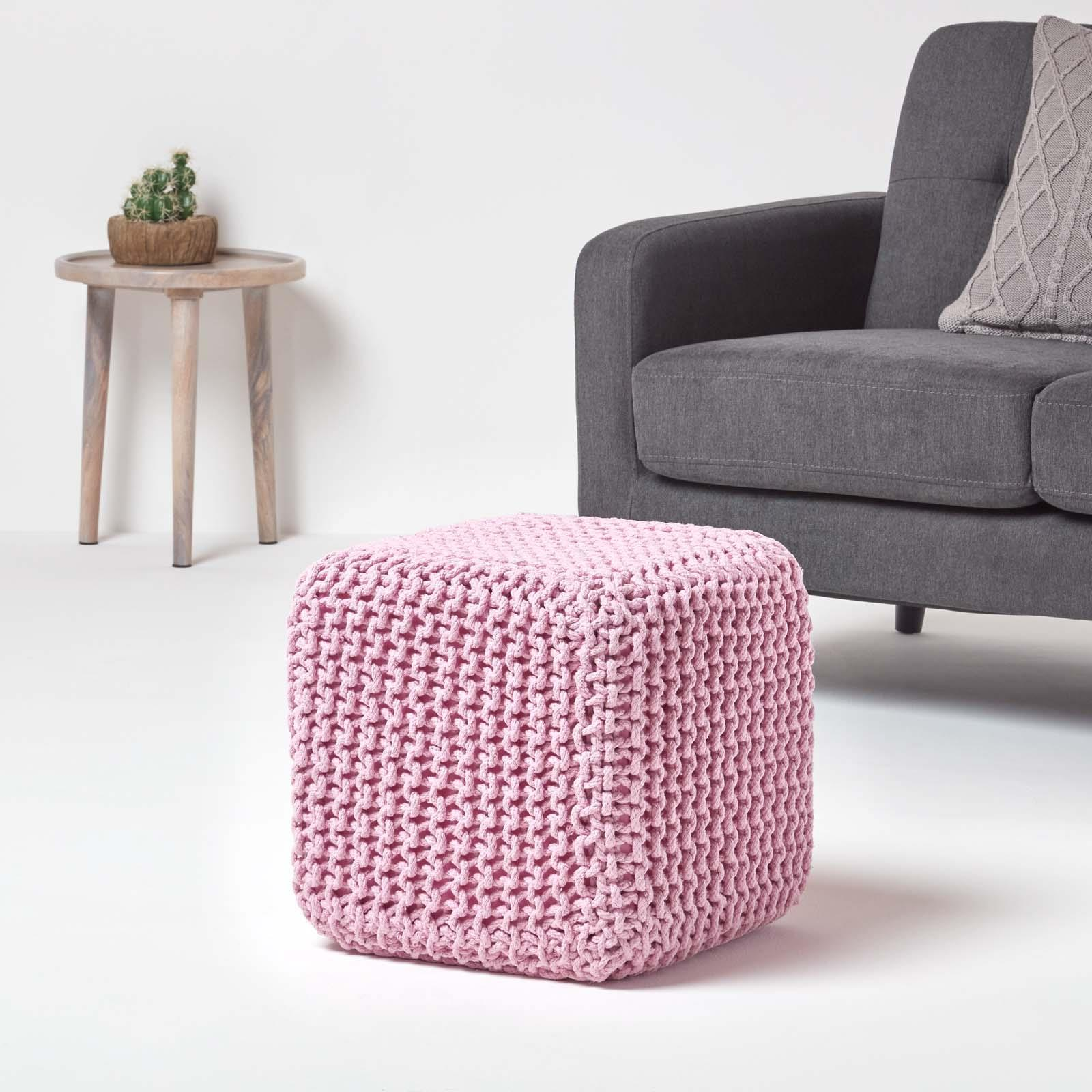 Hand-Knitted-100-Cotton-Pouffes-Round-Sphere-Or-Cube-Square-Chunky-Footstools thumbnail 146