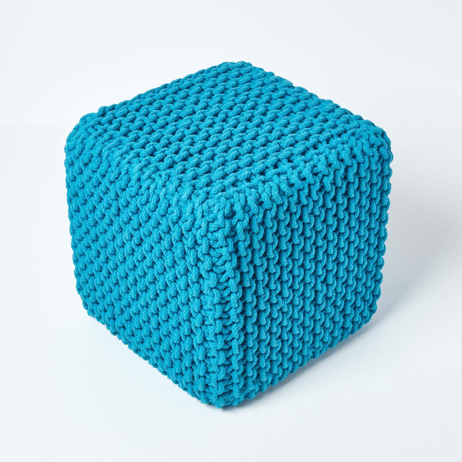 Hand-Knitted-100-Cotton-Pouffes-Round-Sphere-Or-Cube-Square-Chunky-Footstools thumbnail 184