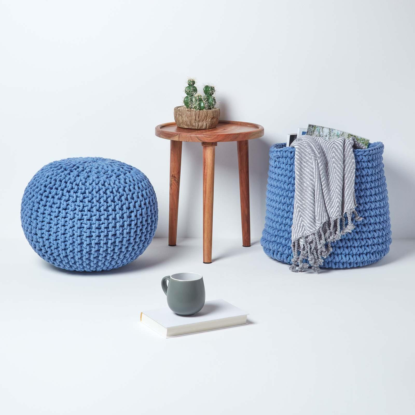 Hand-Knitted-100-Cotton-Pouffes-Round-Sphere-Or-Cube-Square-Chunky-Footstools thumbnail 21