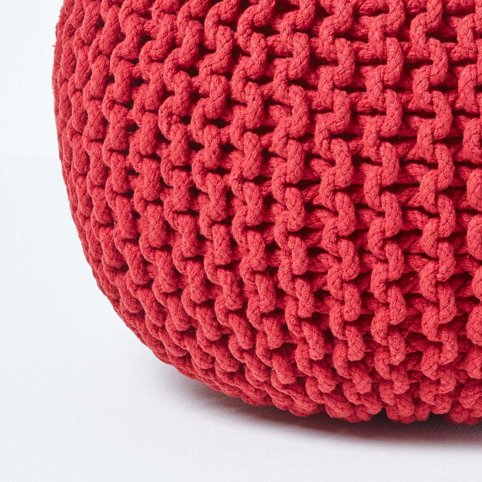 Hand-Knitted-100-Cotton-Pouffes-Round-Sphere-Or-Cube-Square-Chunky-Footstools thumbnail 173