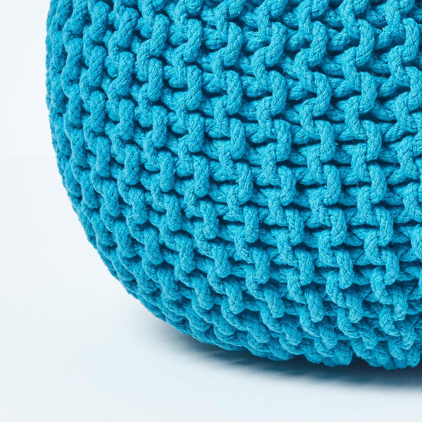 Hand-Knitted-100-Cotton-Pouffes-Round-Sphere-Or-Cube-Square-Chunky-Footstools thumbnail 190