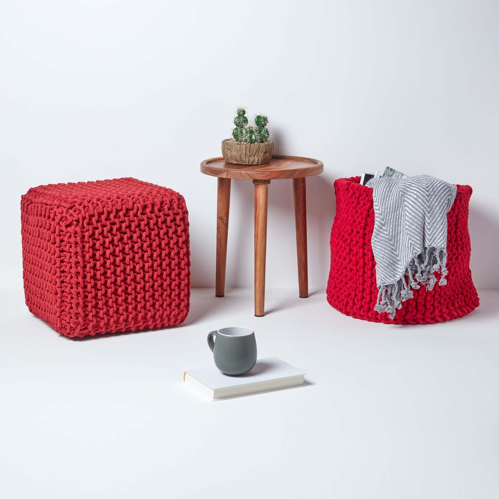 Hand-Knitted-100-Cotton-Pouffes-Round-Sphere-Or-Cube-Square-Chunky-Footstools thumbnail 180