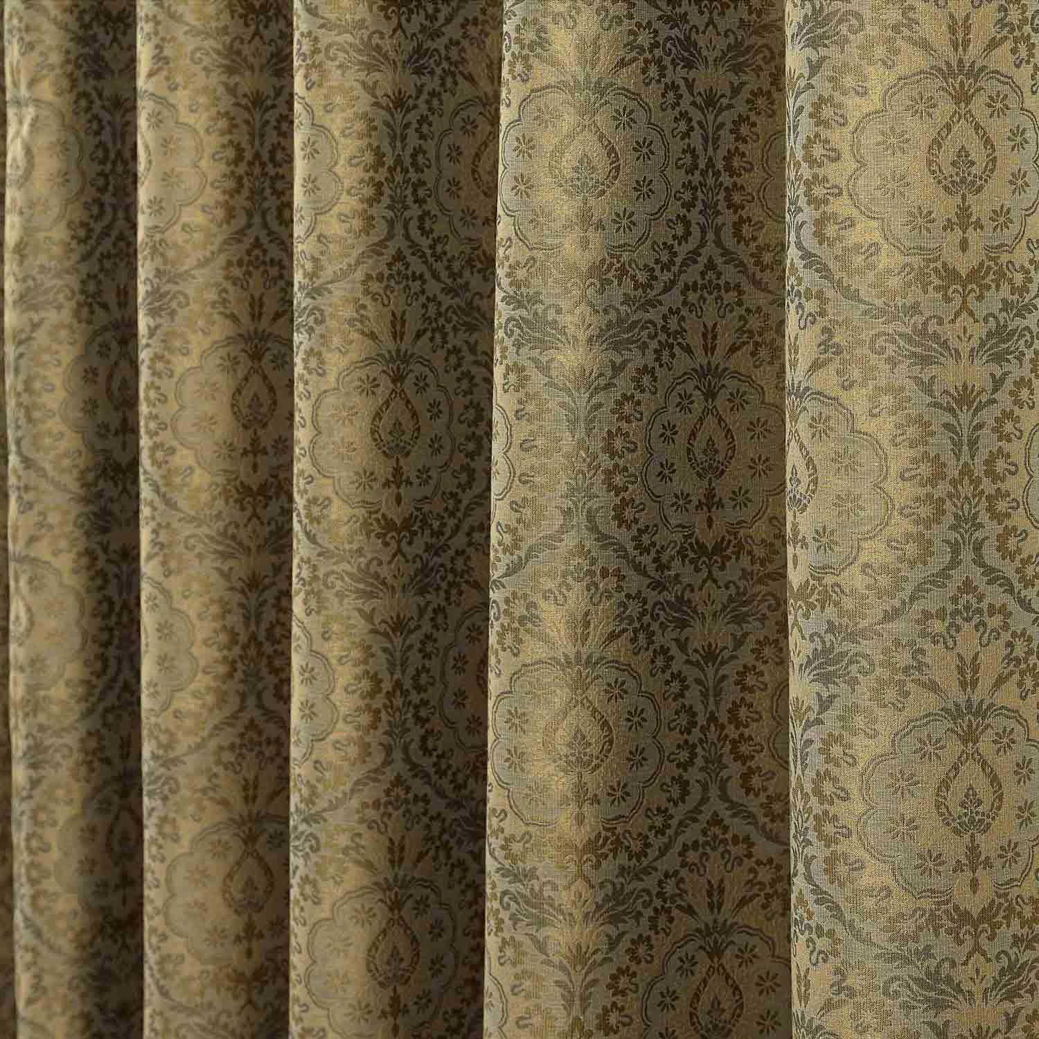 Curtains texture gold - Floral Pencil Pleat Fully Lined Jacquard Damask Curtains