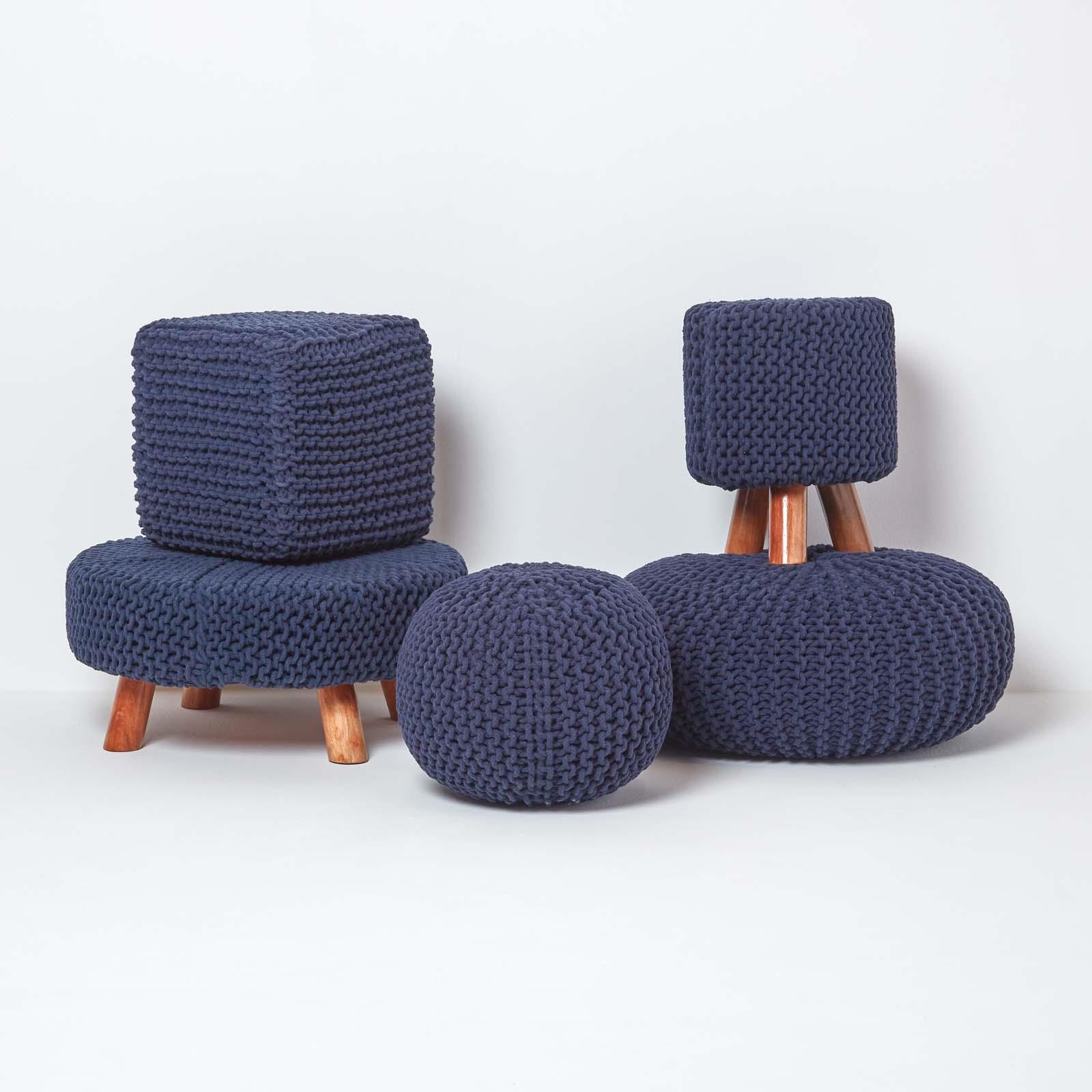 Hand-Knitted-100-Cotton-Pouffes-Round-Sphere-Or-Cube-Square-Chunky-Footstools thumbnail 108