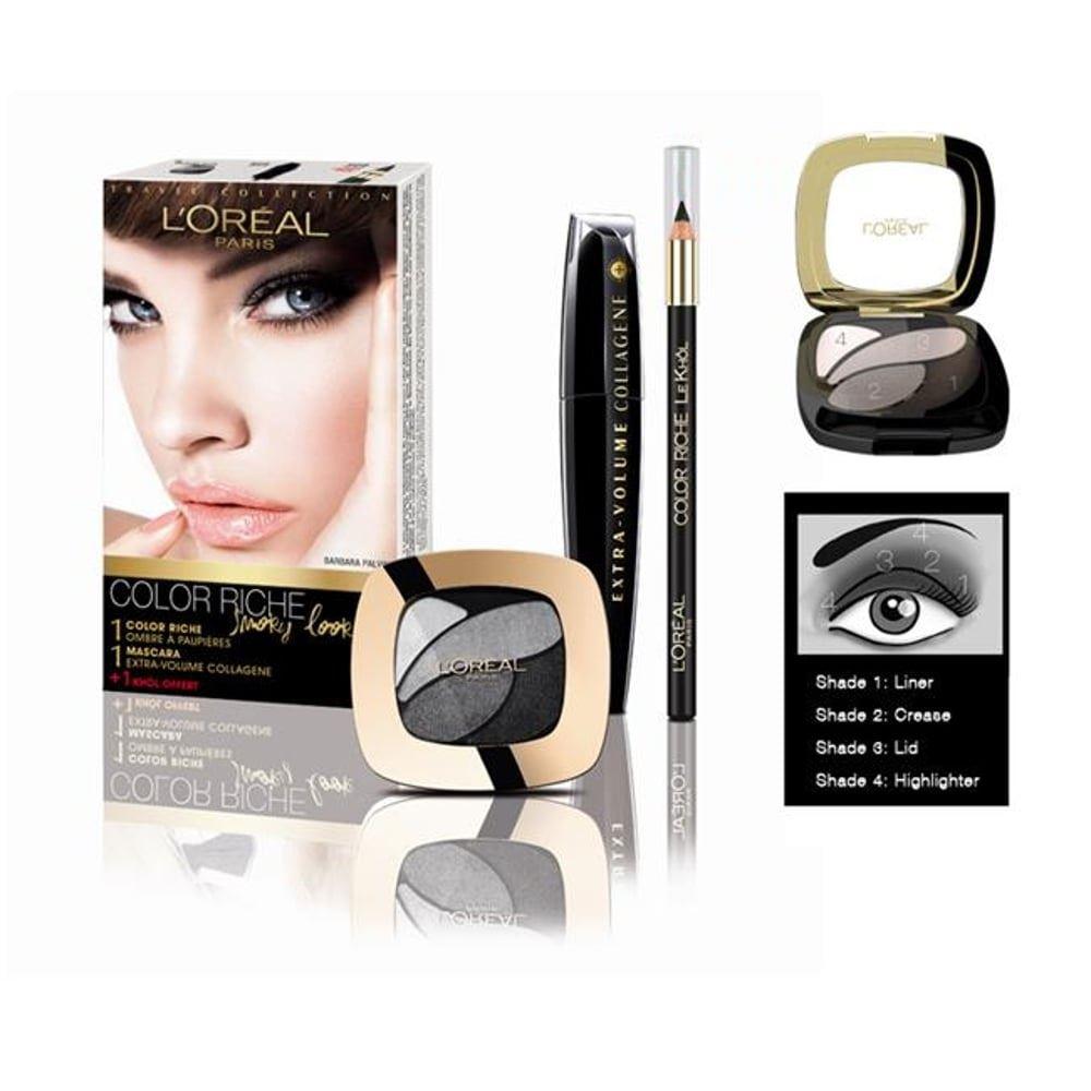 New Loreal Color Riche Smoky Look Travel Set Eyeshadow Mascara Maybelline Volumamp039 Express The Magnum Black 6 Pcs Khol Pencil