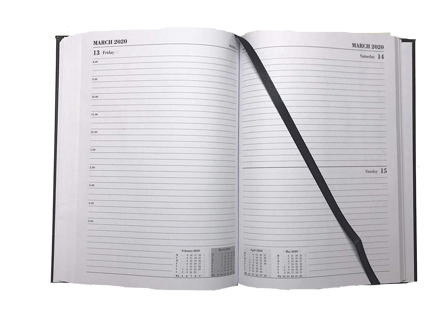 2019 1 Page per Day Appointment Diary A4 Black Yearly Case Bound Planner Diary