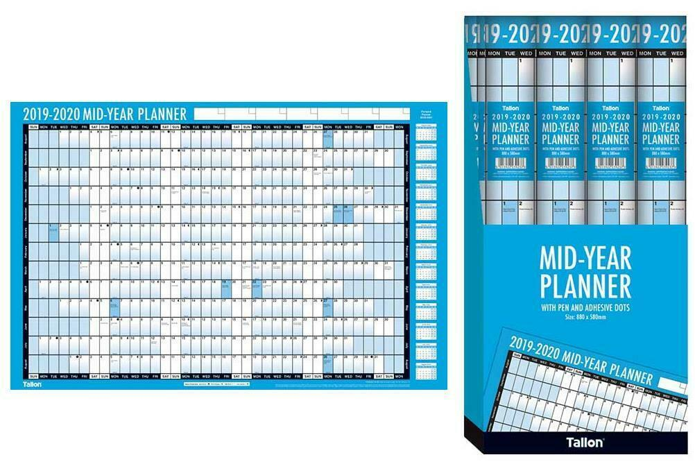 2019-2020 Mid Year Planner A2 Large Laminated Academic Wall-Planner 59cm x 42cm