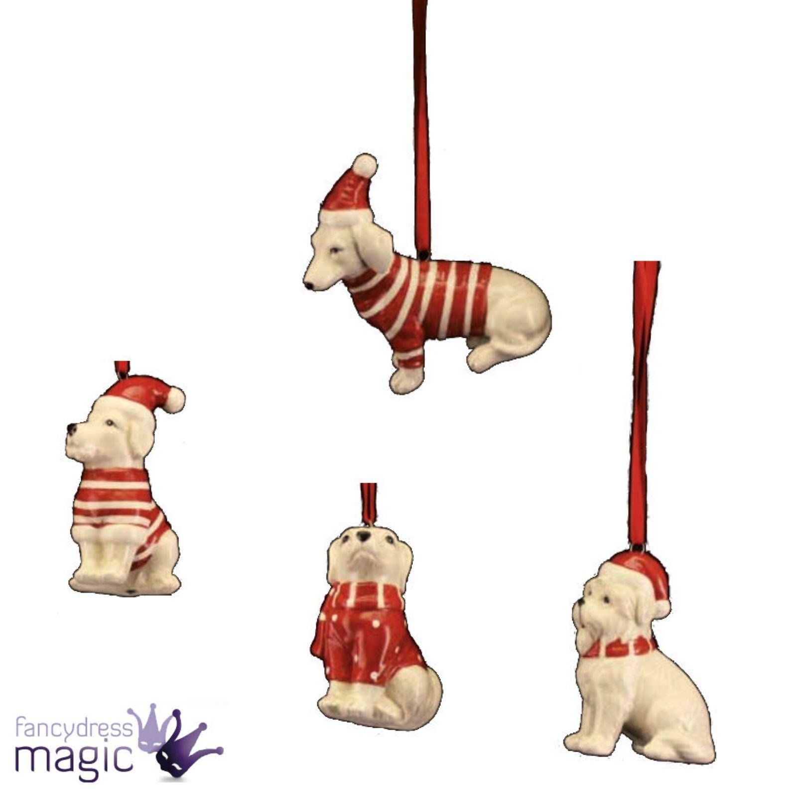 Gisela Graham Red White Ceramic Dog Christmas Xmas Home Tree ...