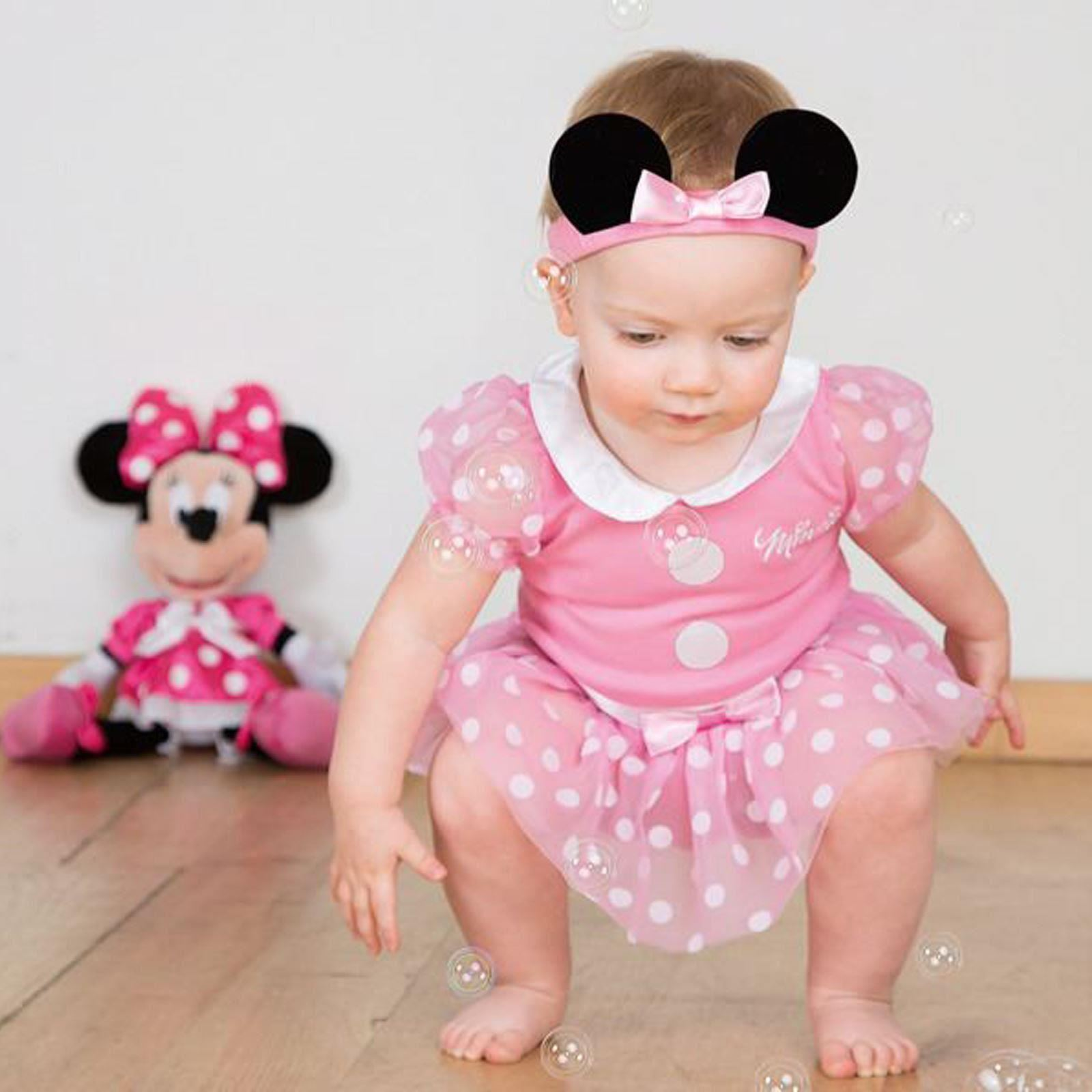 Girls Baby Toddler Pink Disney Minnie Mouse Fancy Dress Costume