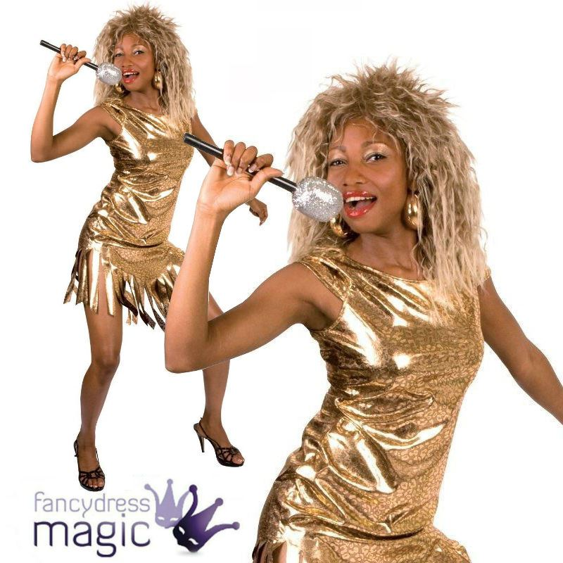 Ladies Womens Tina Turner Rock Pop Star 80s 1980s Fancy Dress