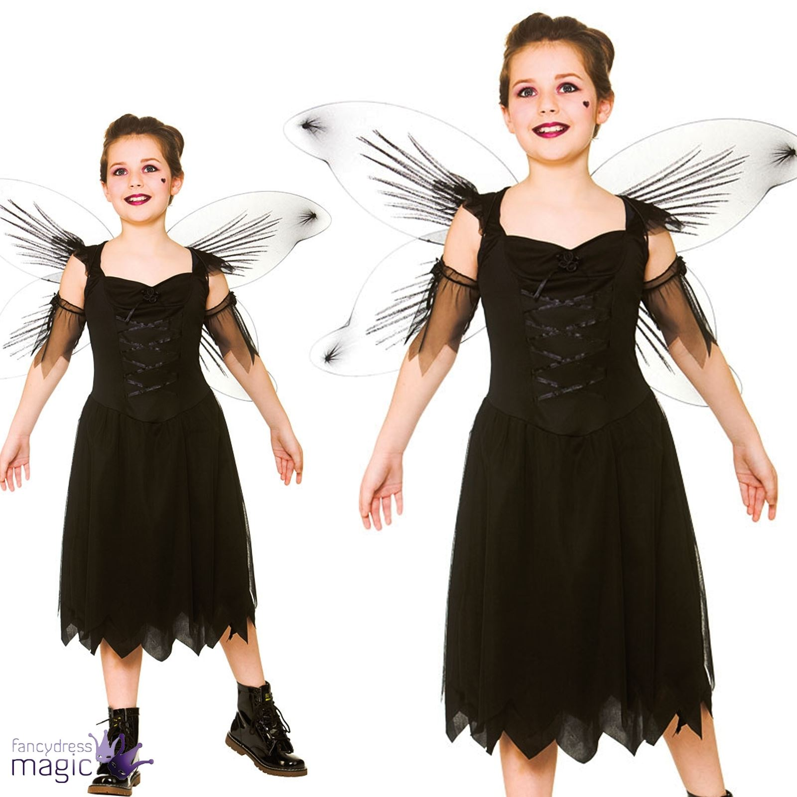 girls teens fallen angel bad dark fairy halloween fancy dress outfit