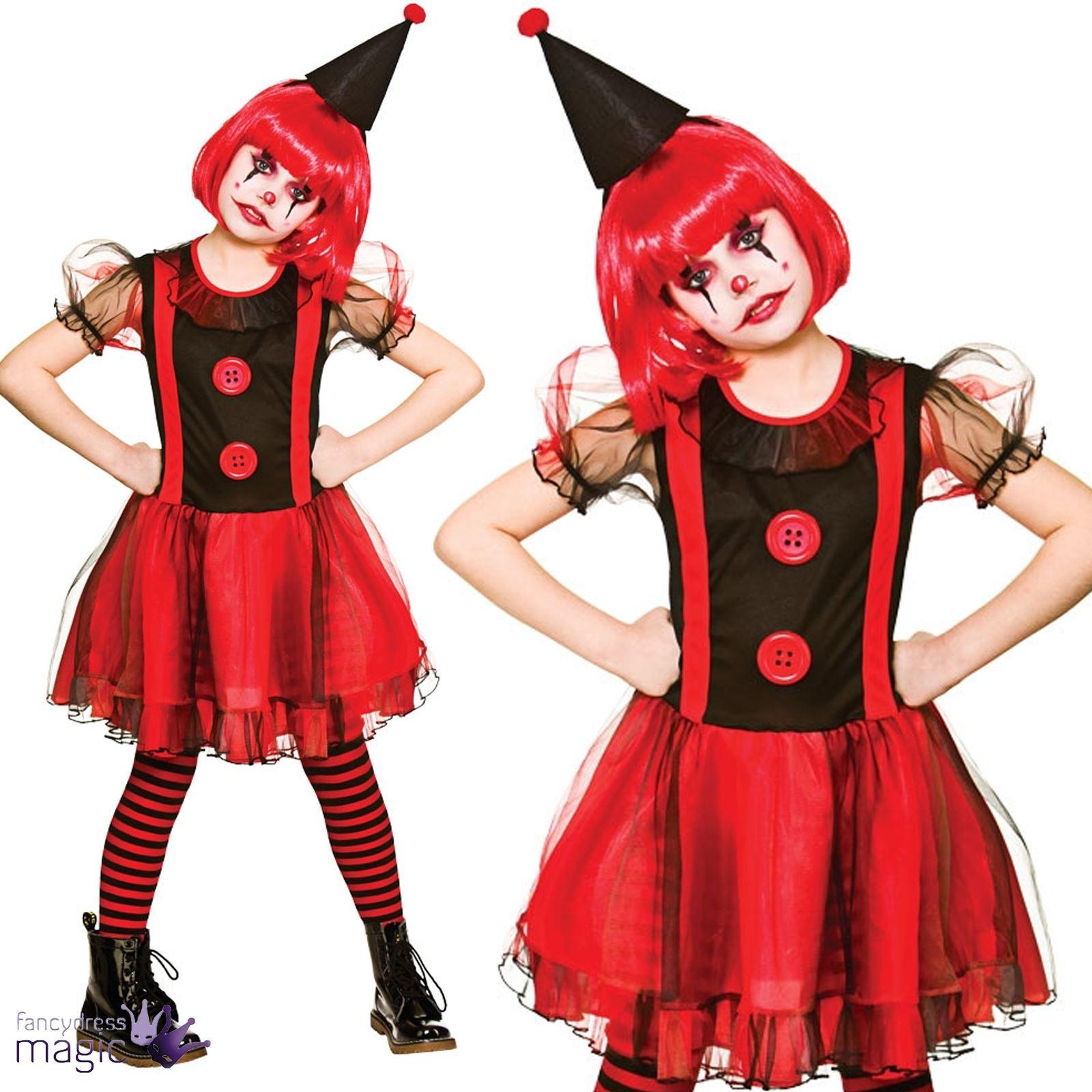 Kids-Girls-Teen-Scary-Circus-Horror-Evil-Clown-  sc 1 st  eBay & Kids Girls Teen Scary Circus Horror Evil Clown Halloween Fancy Dress ...