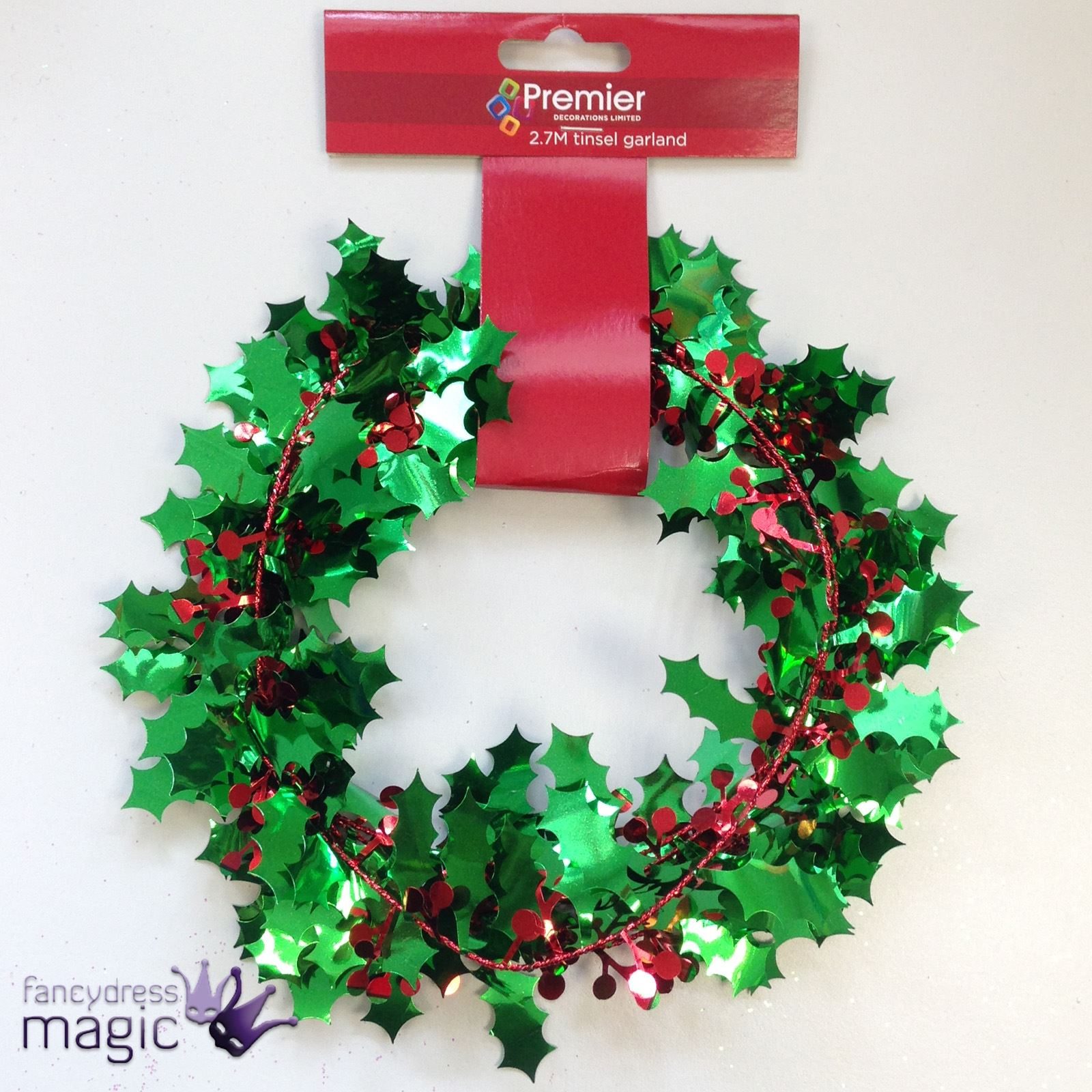 27m foil green red holly tinsel garland christmas xmas hanging tree decoration