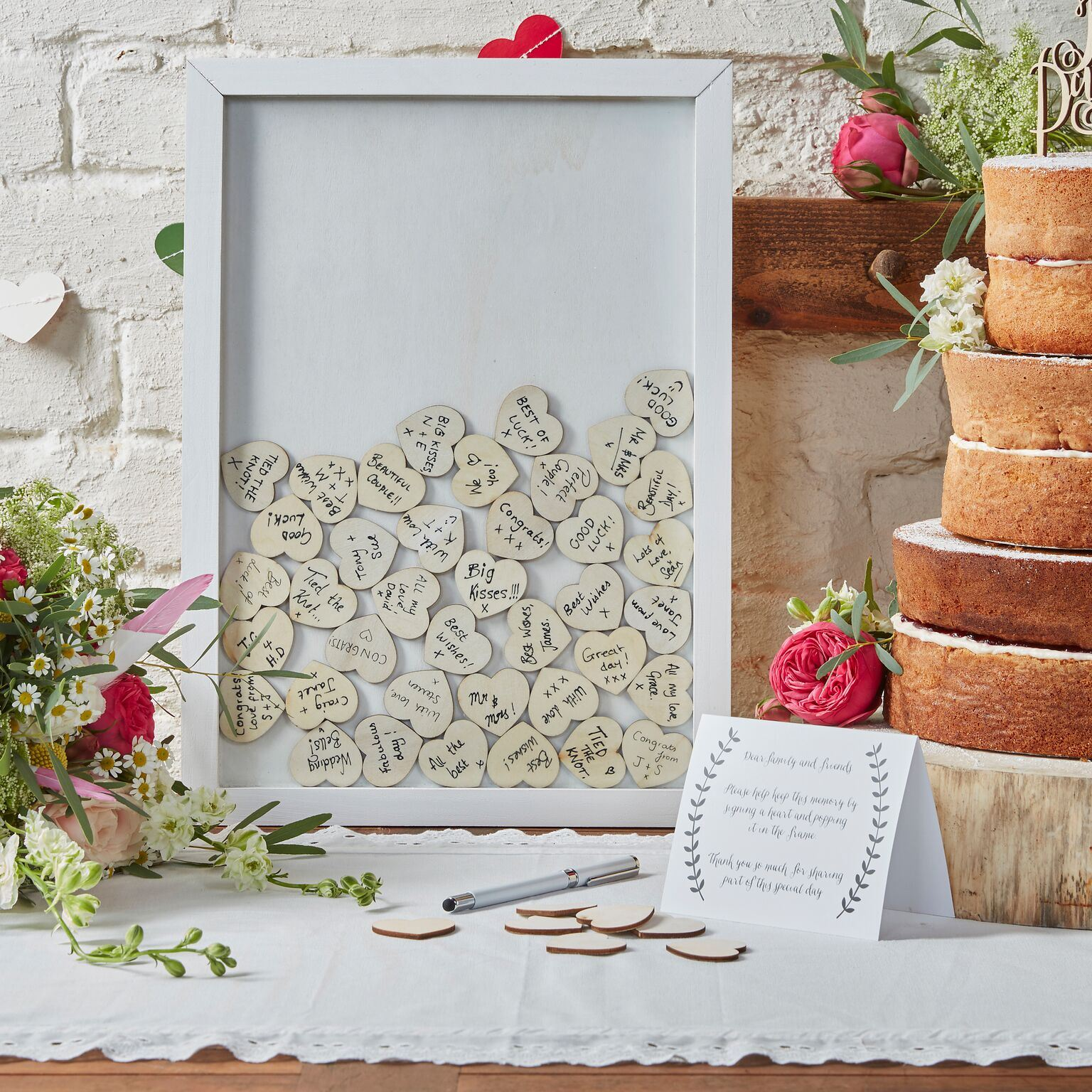 Wedding Message Book Ideas: Ginger Ray Boho Wooden Hearts Heart Drop Top Frame Guest