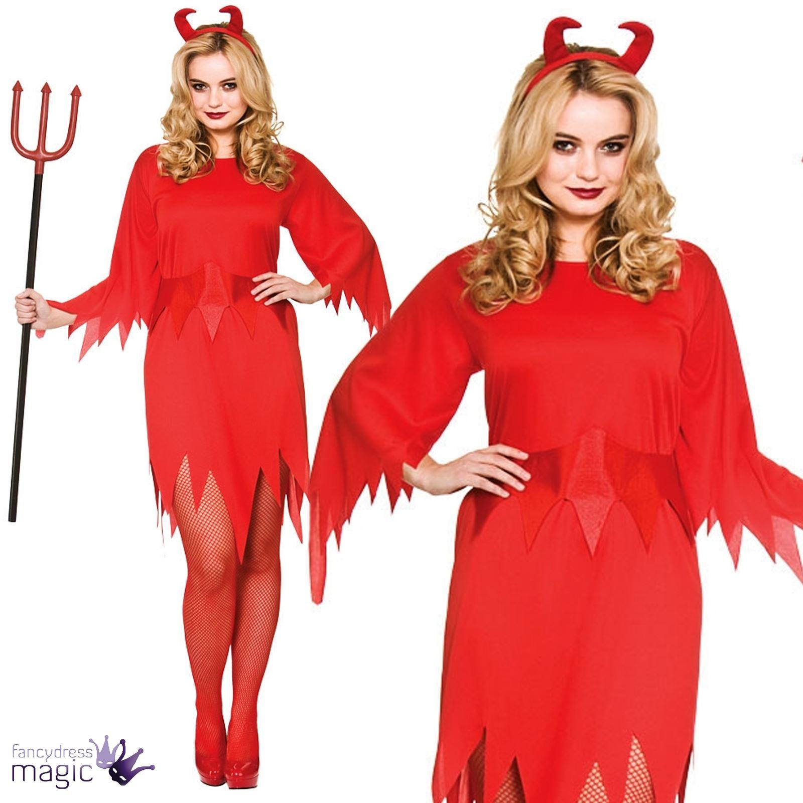 f0adf74d7c029d Les dames adultes méchant Satan diable Halloween Costume déguisement avec  cornes